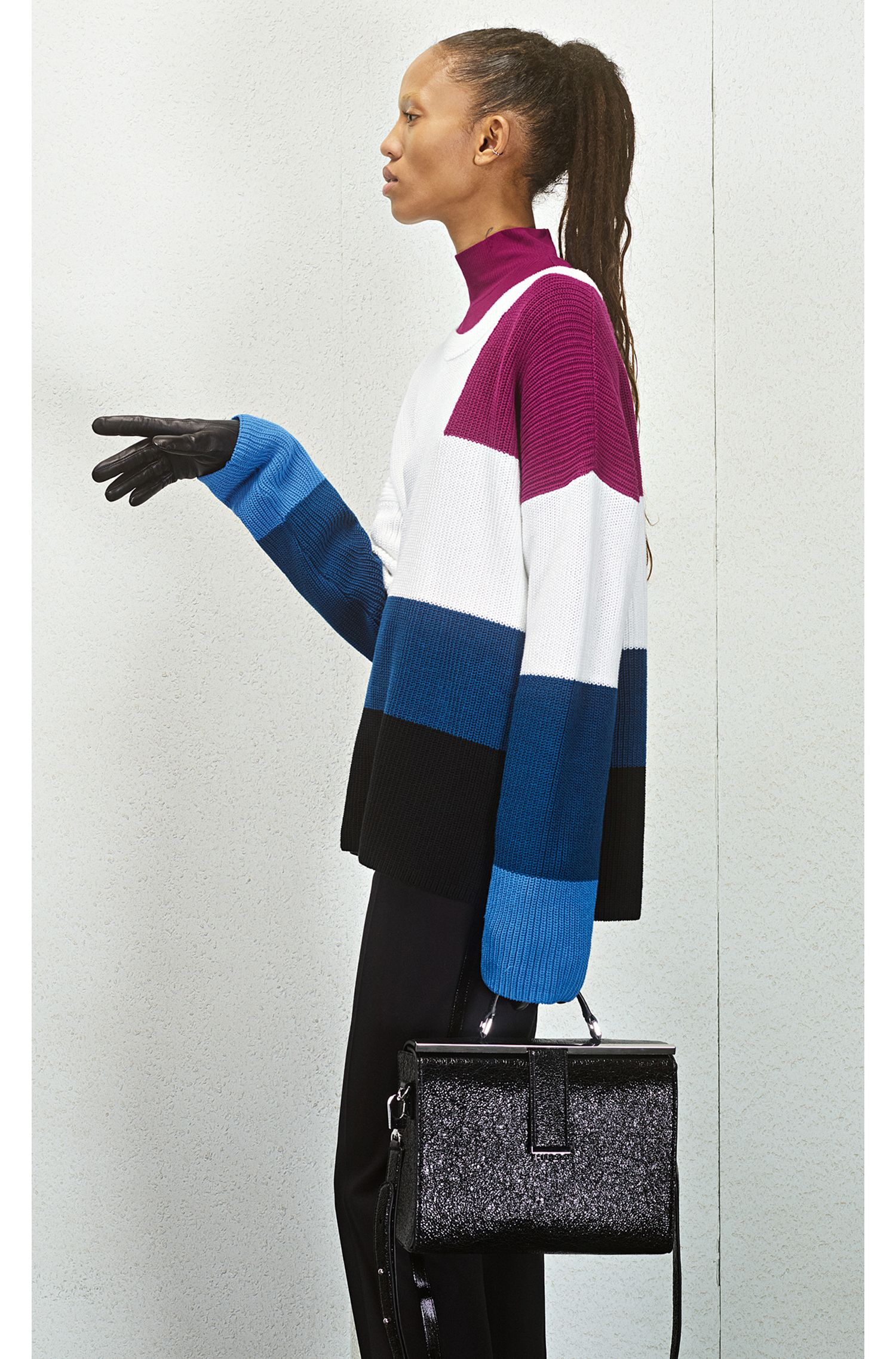 Oversized Strickpullover aus Baumwolle mit Colour-Block-Dessin, Gemustert
