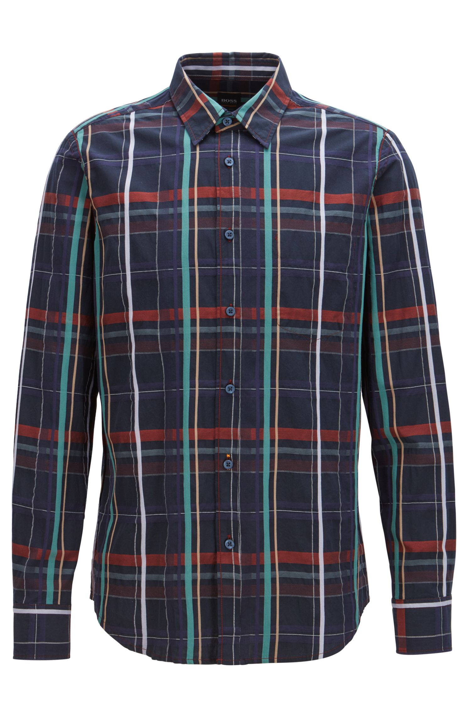 Regular-fit Glen-checked shirt with inside-out construction, Dark Blue