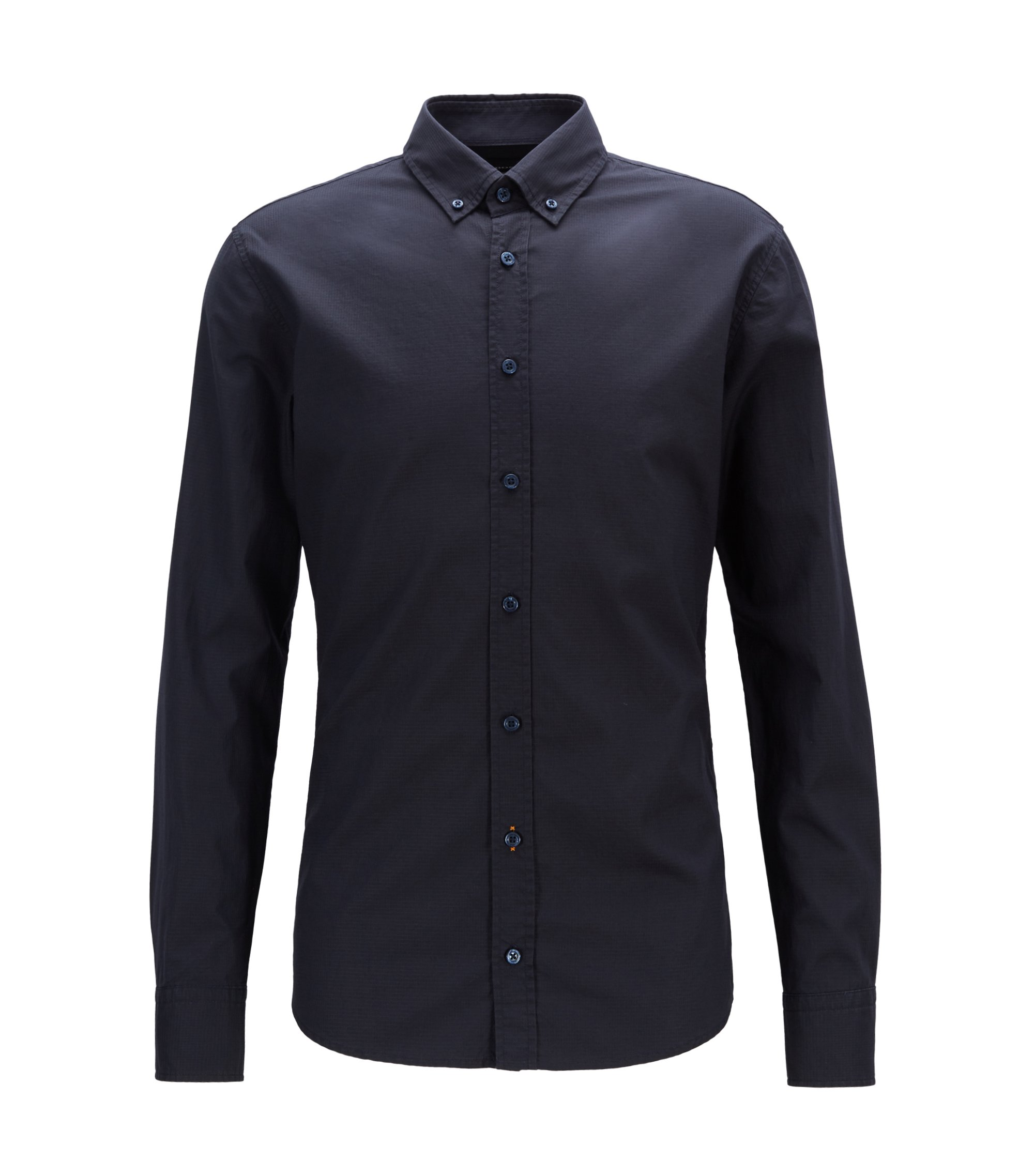 Slim-fit buttondownoverhemd van ripstopkatoen, Donkerblauw