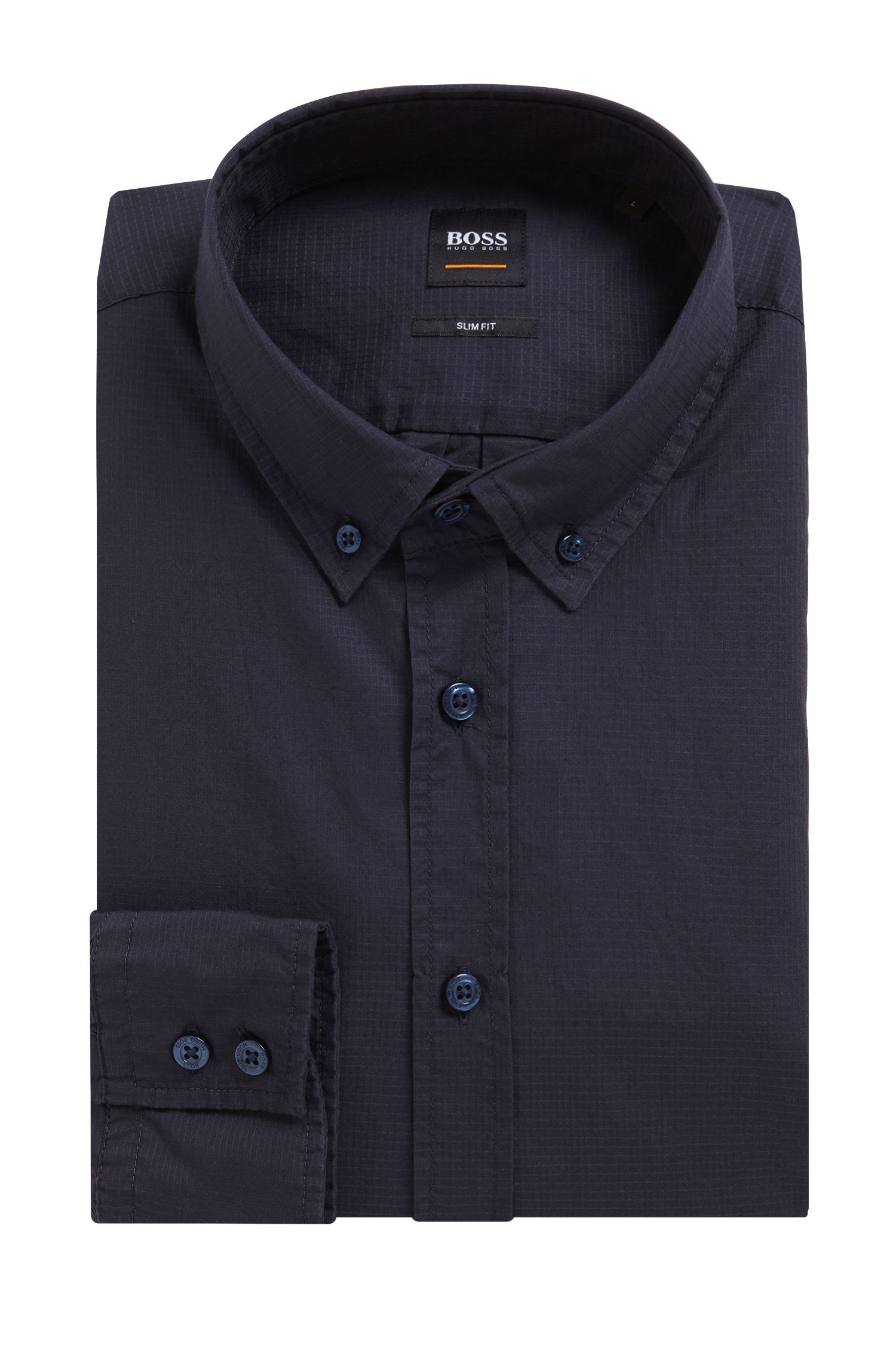 Slim-Fit Button-Down-Hemd aus Ripstop-Baumwolle, Dunkelblau