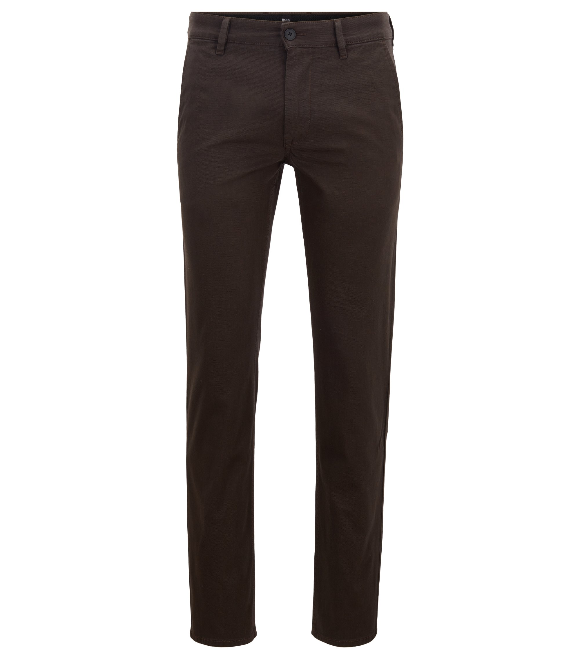Overdyed slim-fit trousers with double belt loops, Dark Brown