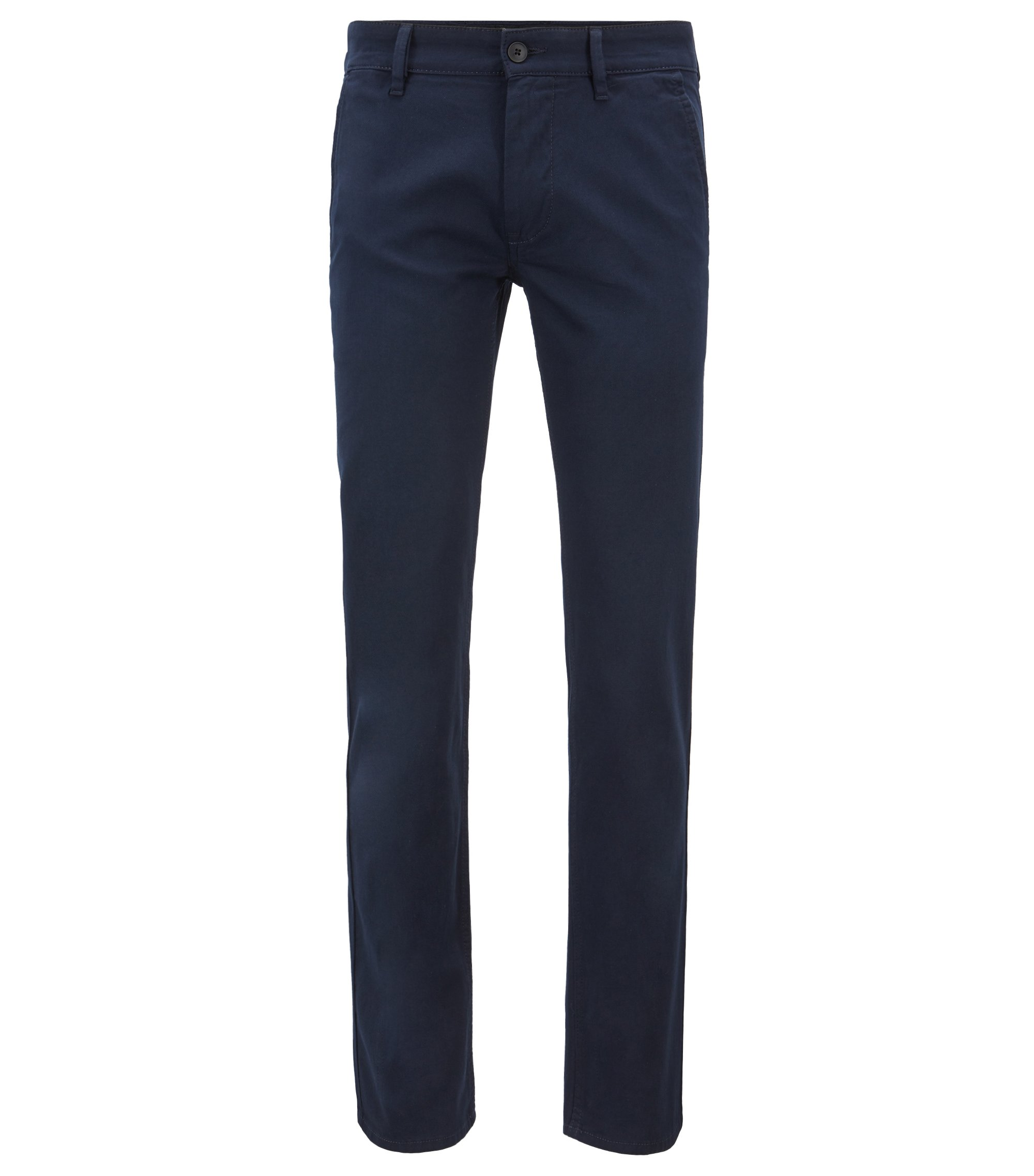Overdyed slim-fit trousers with double belt loops, Dark Blue