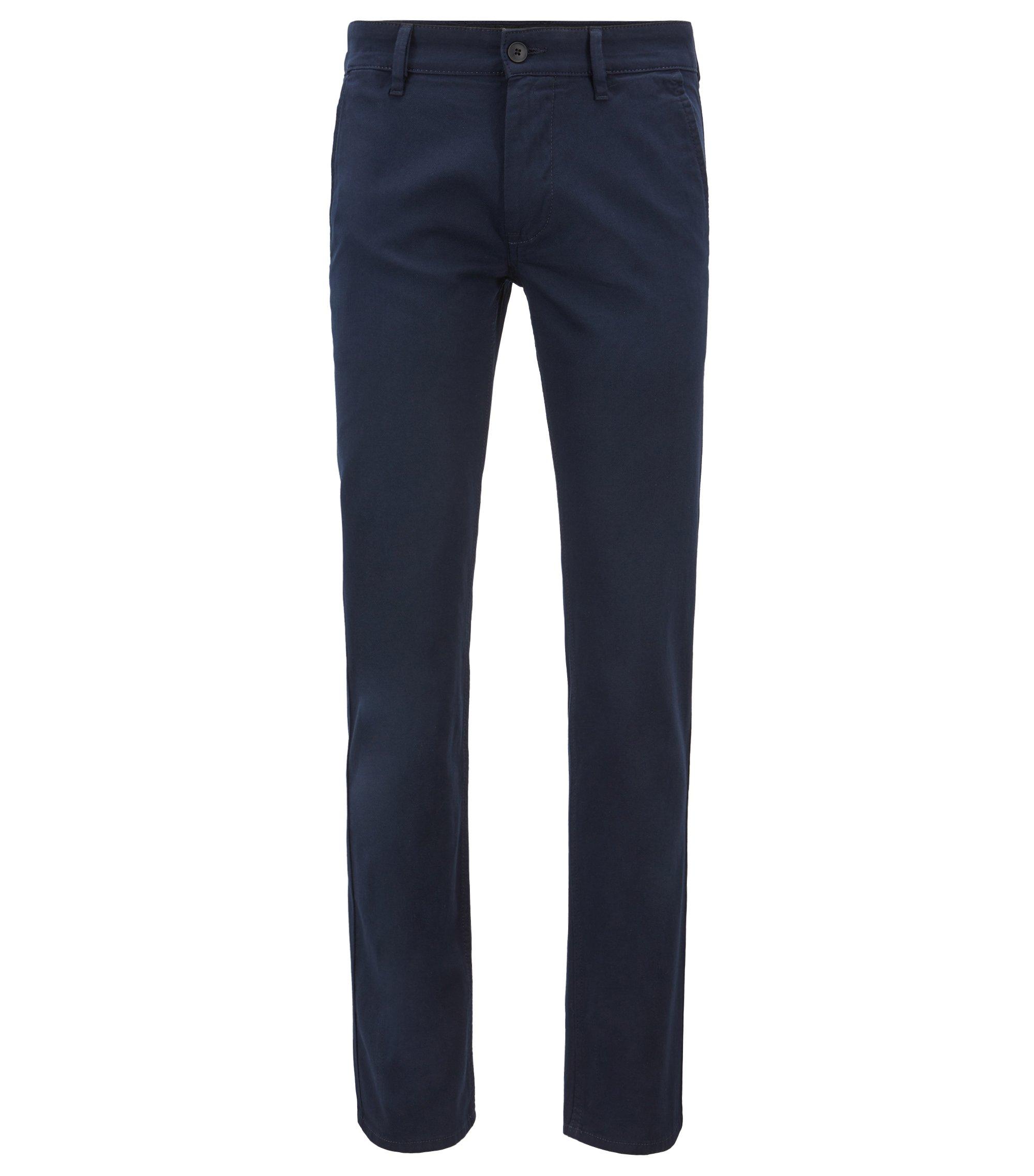 Überfärbte Slim-Fit Hose mit doppelten Gürtelschlaufen, Dunkelblau