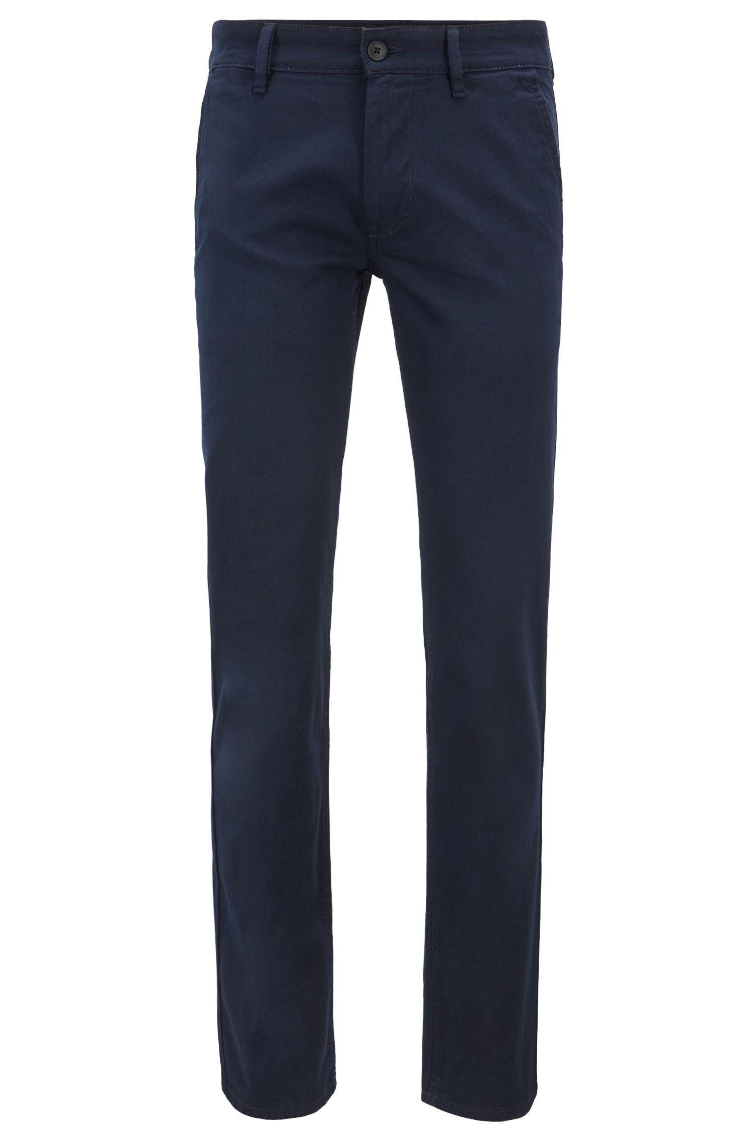 Pantalon Slim Fit surteint avec doubles passants, Bleu foncé