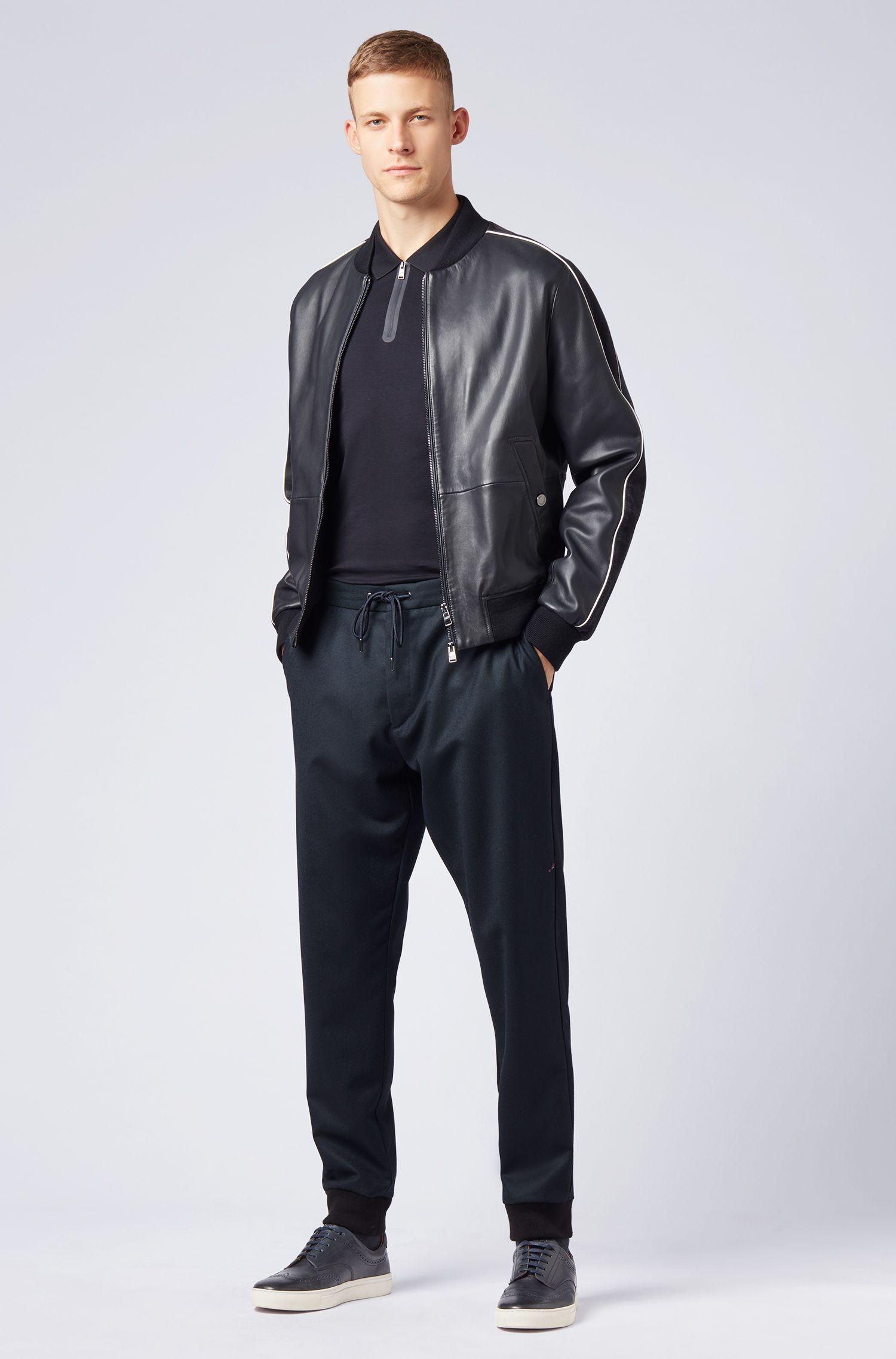 Polo Slim Fit en coton avec encolure zippée, Bleu foncé