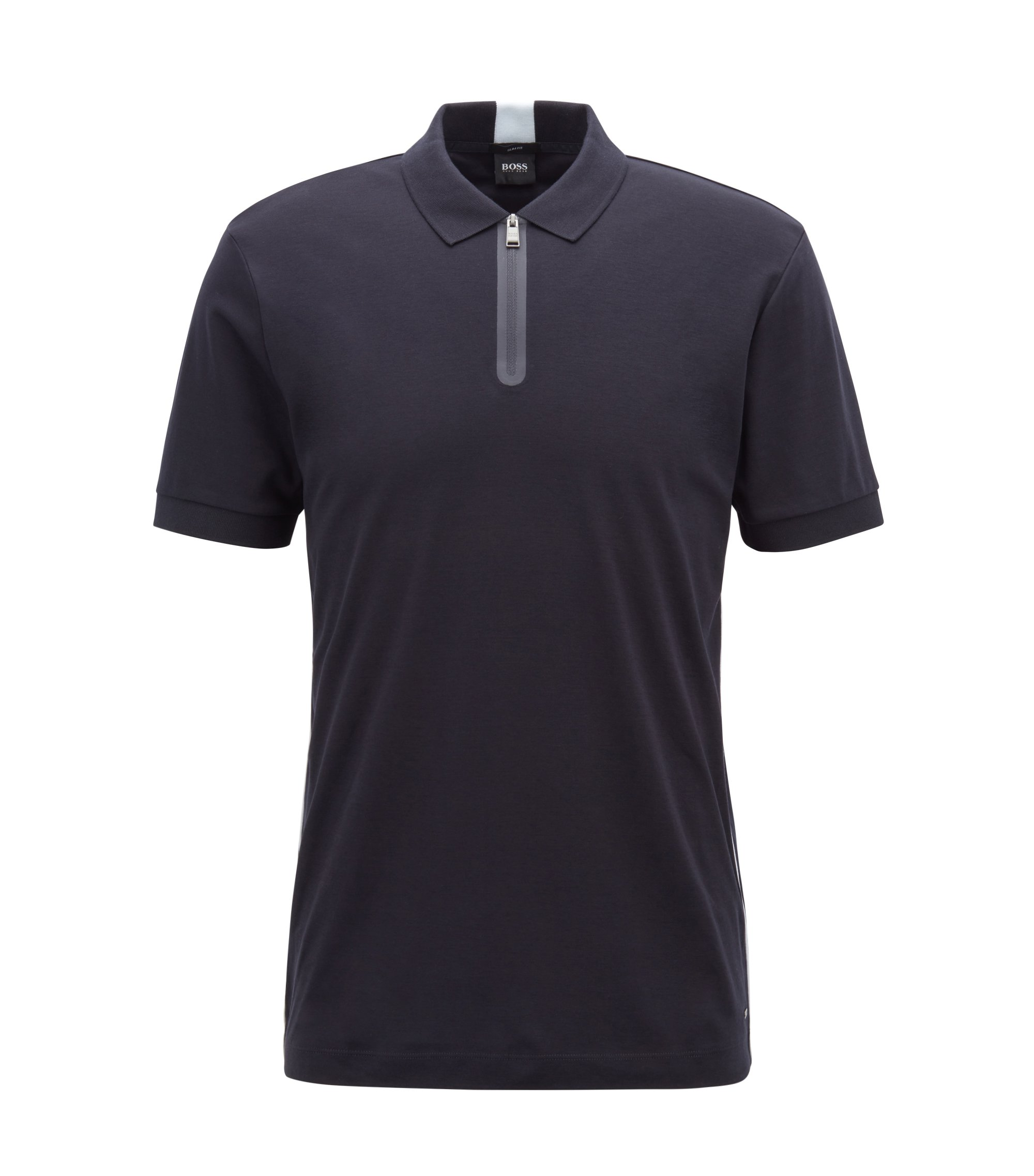Slim-fit polo shirt in cotton with zipped neck, Dark Blue