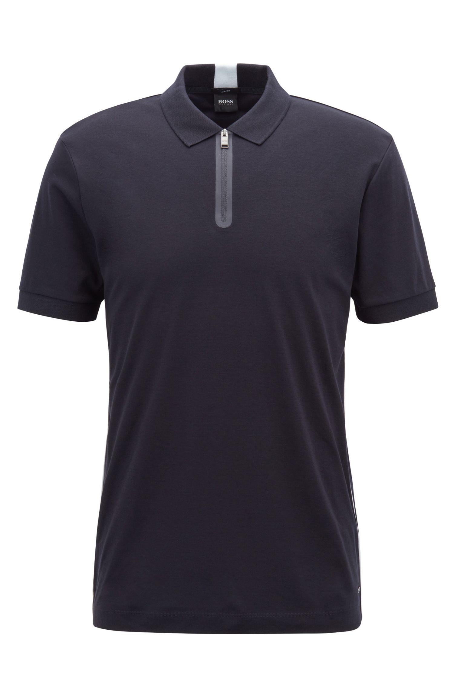 Poloshirt aus Baumwolle mit Reißverschluss am Ausschnitt, Dunkelblau