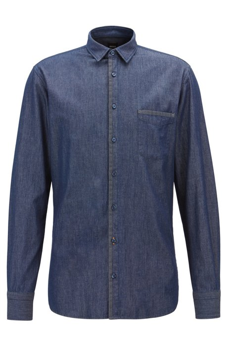 74b92eae517 BOSS - Slim-fit shirt in washed denim with mesh trims