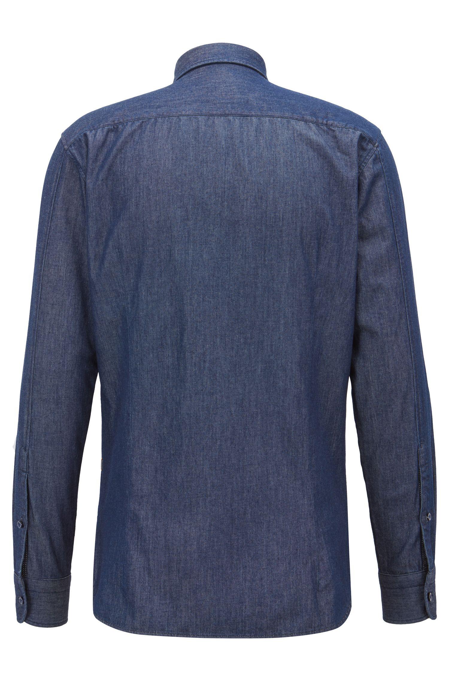Slim-fit shirt in washed denim with mesh trims, Dark Blue