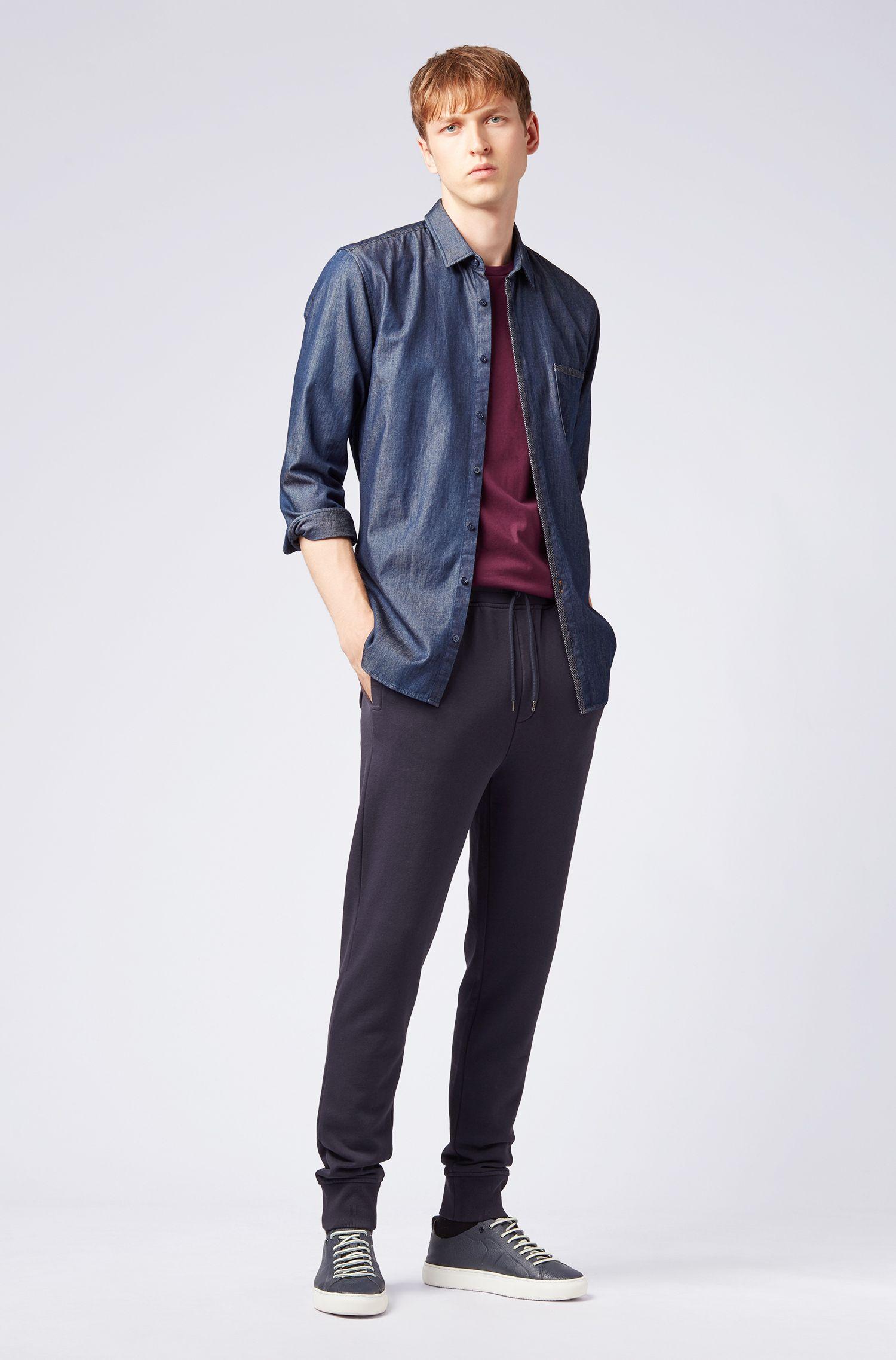 Slim-Fit Hemd aus Washed Denim mit Mesh-Details, Dunkelblau