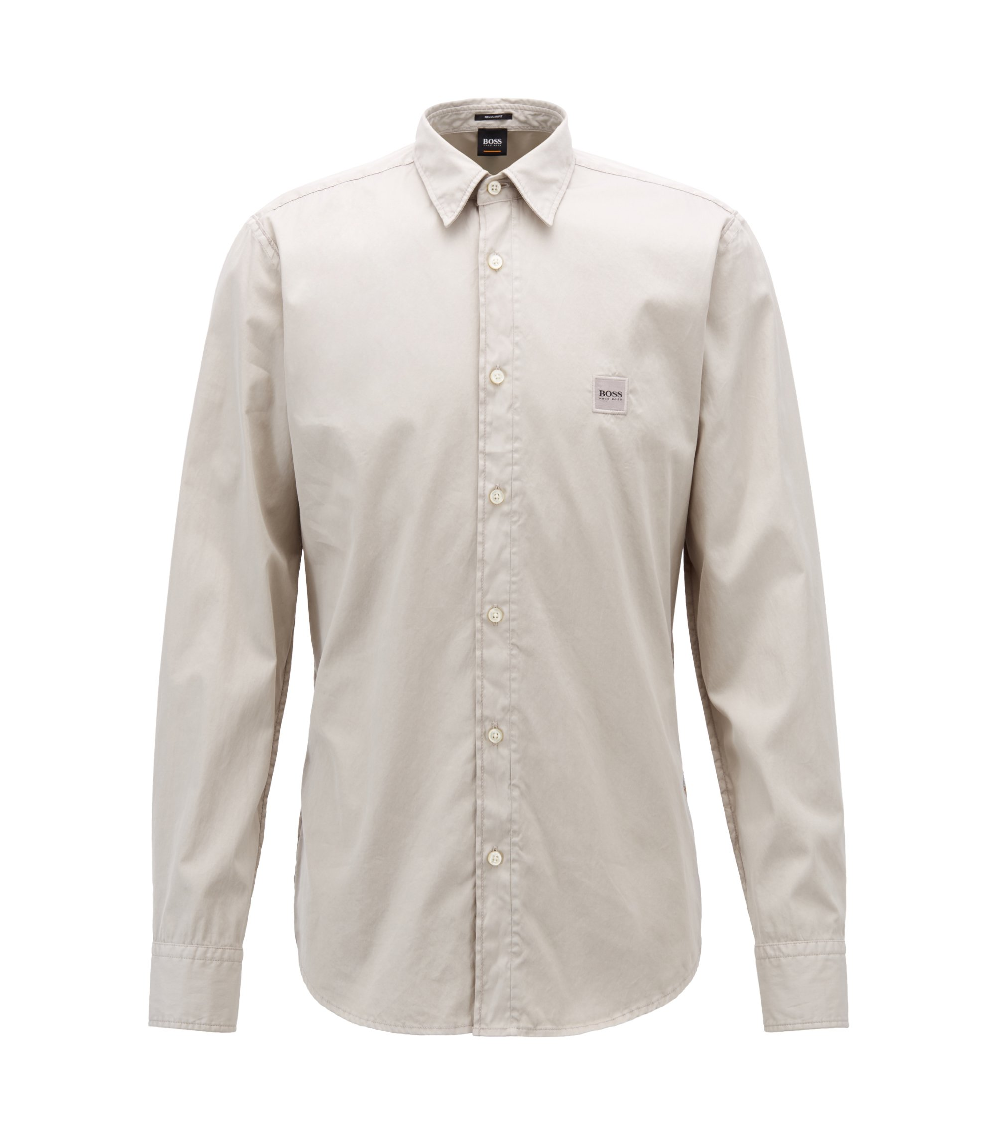 Regular-fit shirt in pigment-dyed cotton with stitching, Light Grey