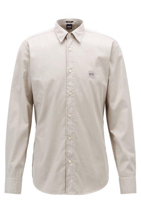 Regular-fit overhemd van pigment-dyed katoen met stiksels, Lichtgrijs