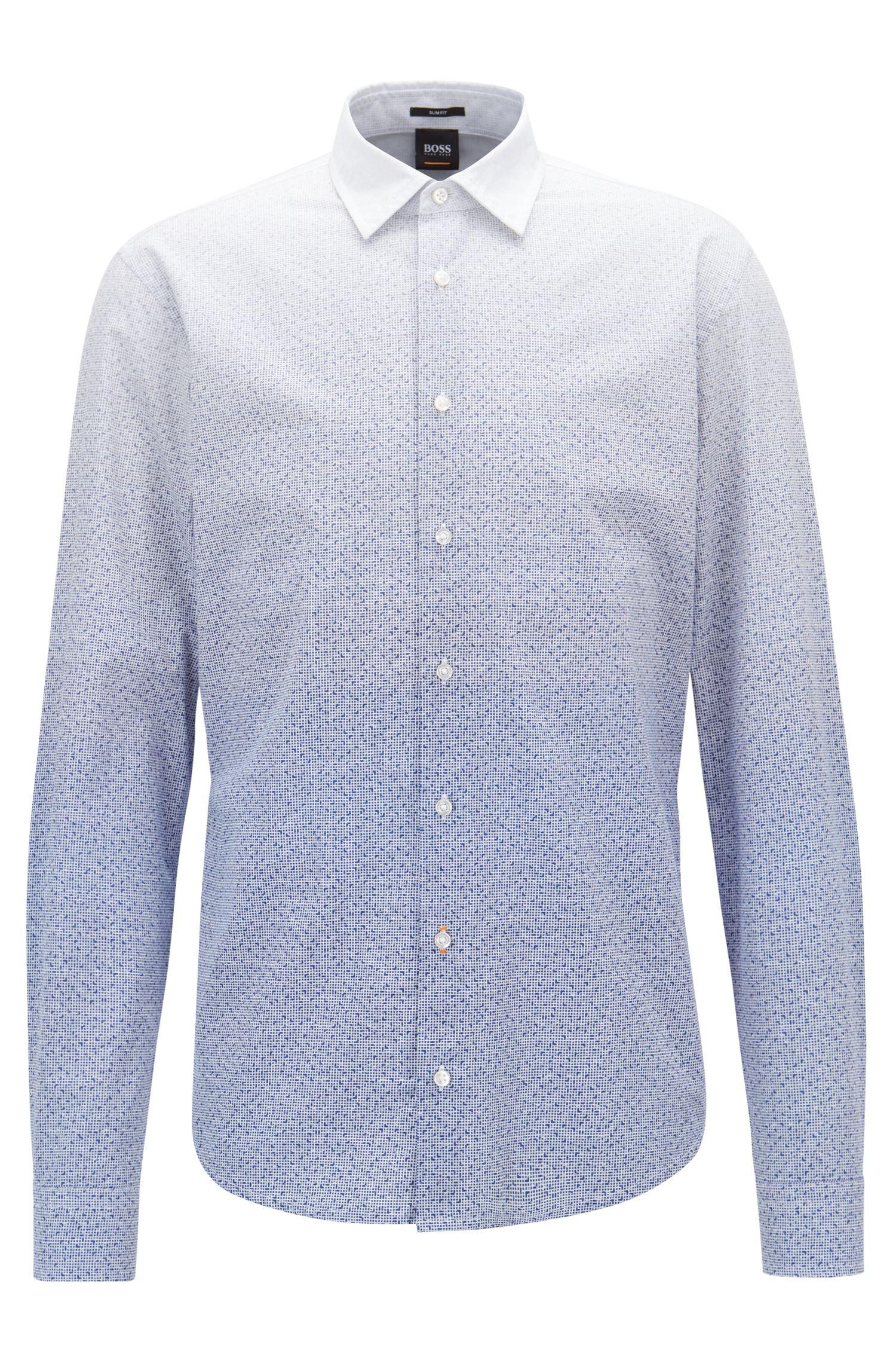 Slim-Fit Hemd aus Baumwolle mit Dégradé-Print, Dunkelblau