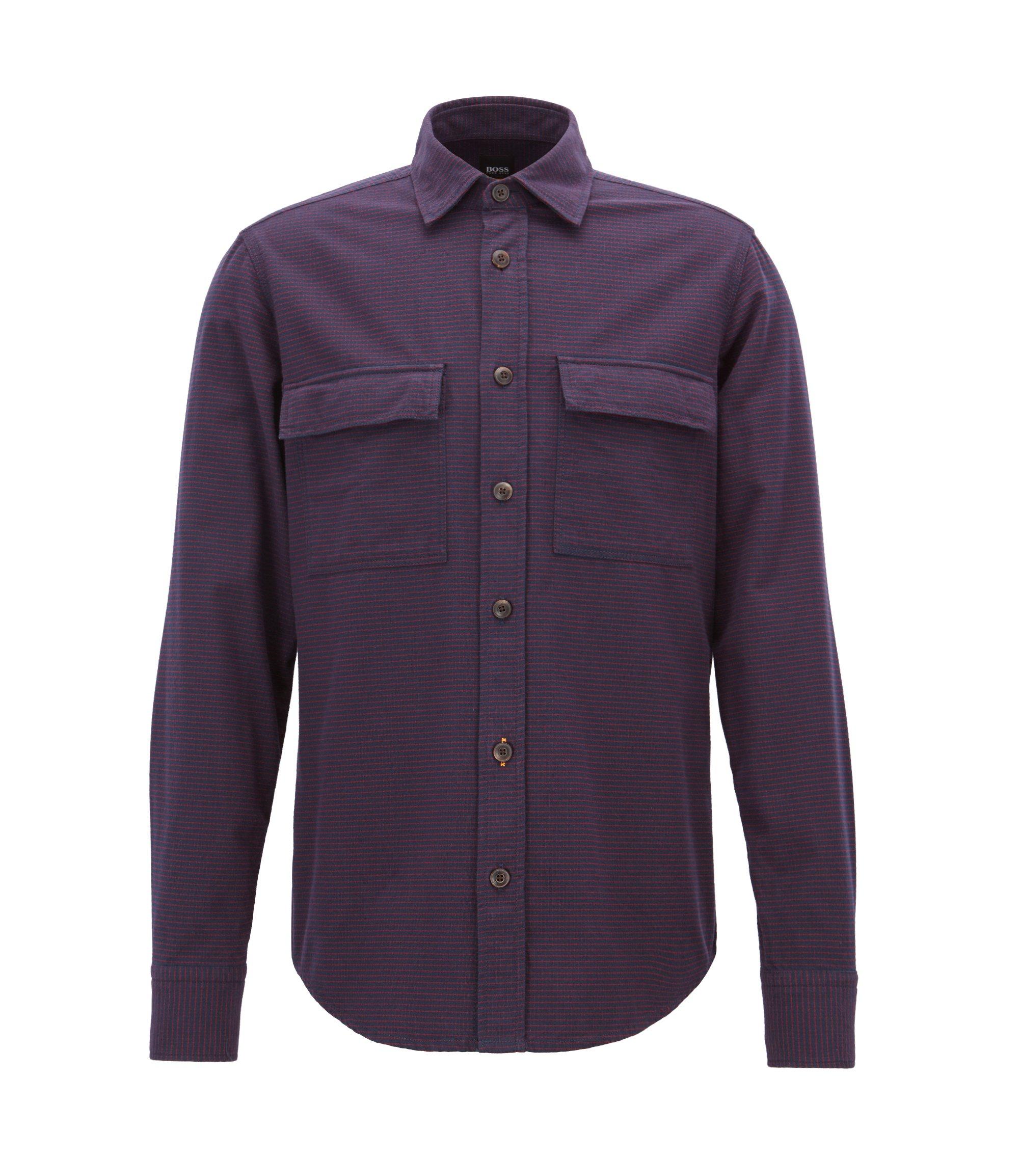 Regular-fit overhemd in flanel met miniruiten, Donkerblauw