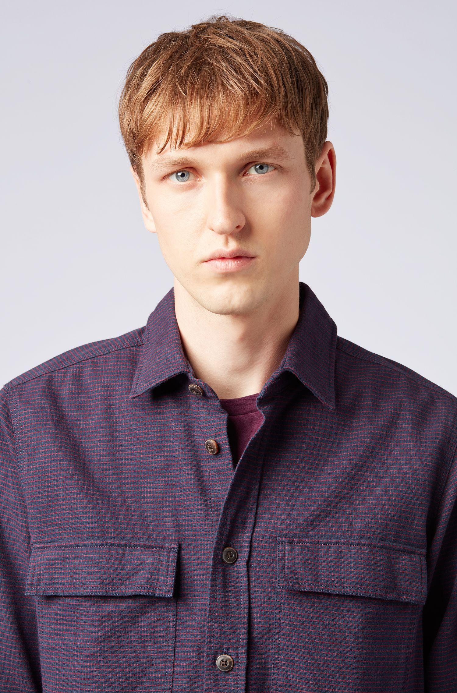 Camicia regular fit in flanella a quadretti, Blu scuro