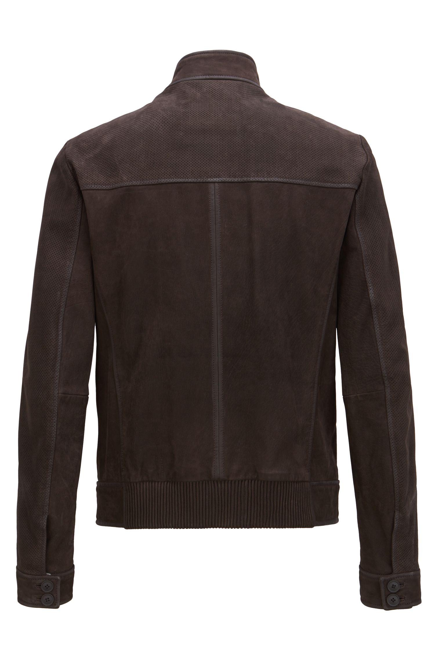 Bikerjas van buffelnubuck met geperforeerde details, Donkerbruin