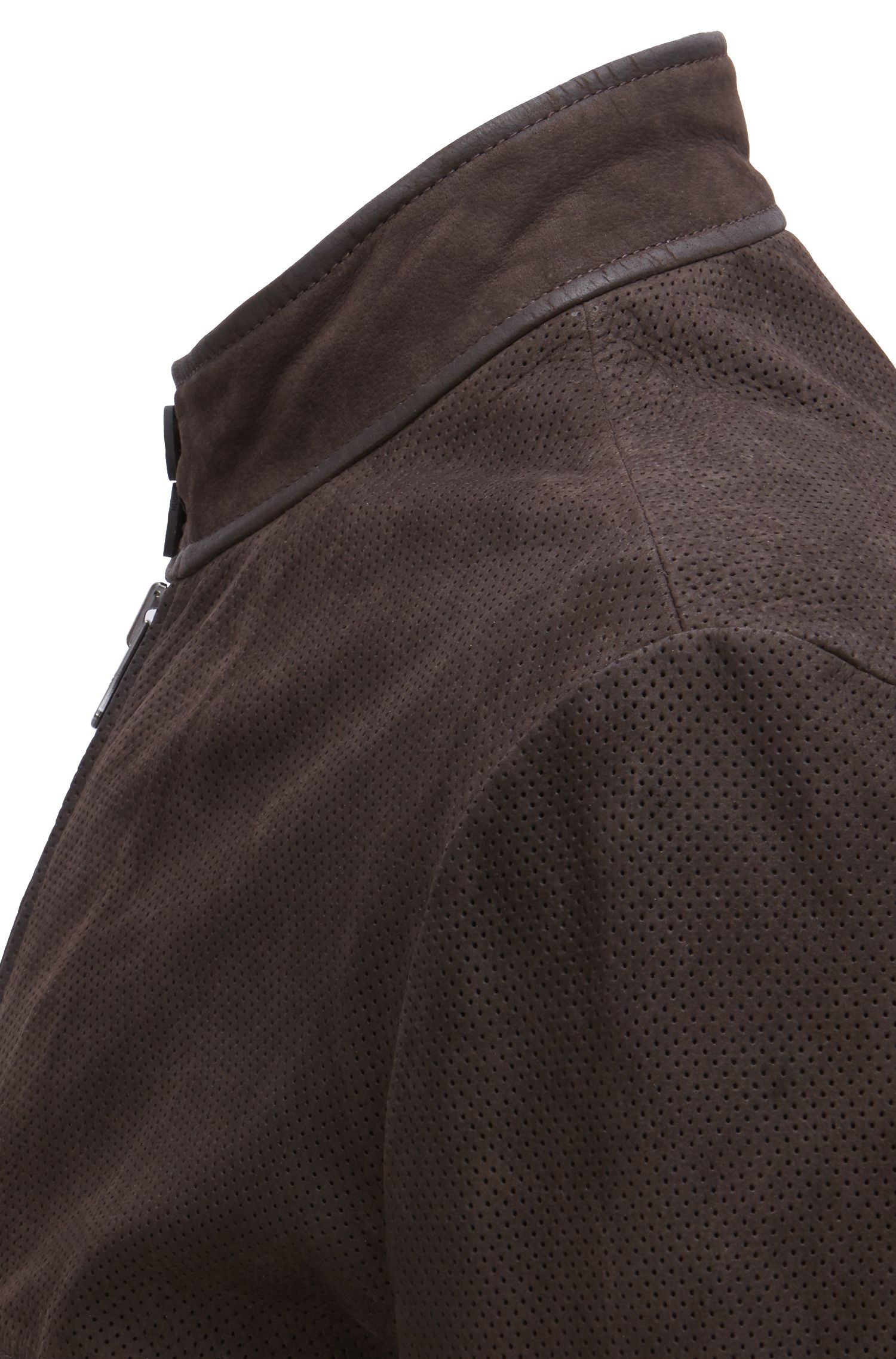 Biker jacket in buffalo nubuck with perforated details, Dark Brown