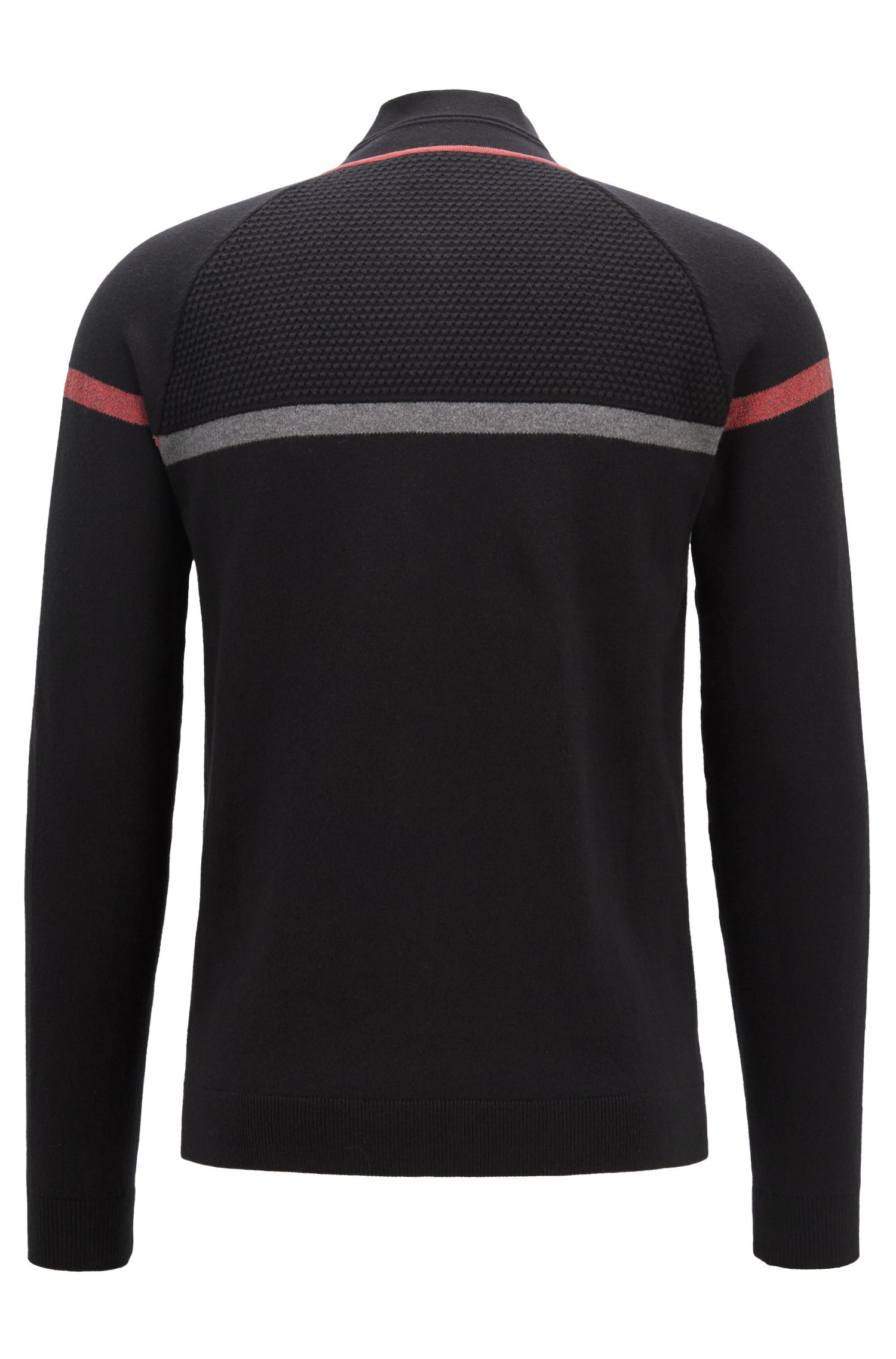 Regular-fit knitted tracksuit top with reflective trims, Black