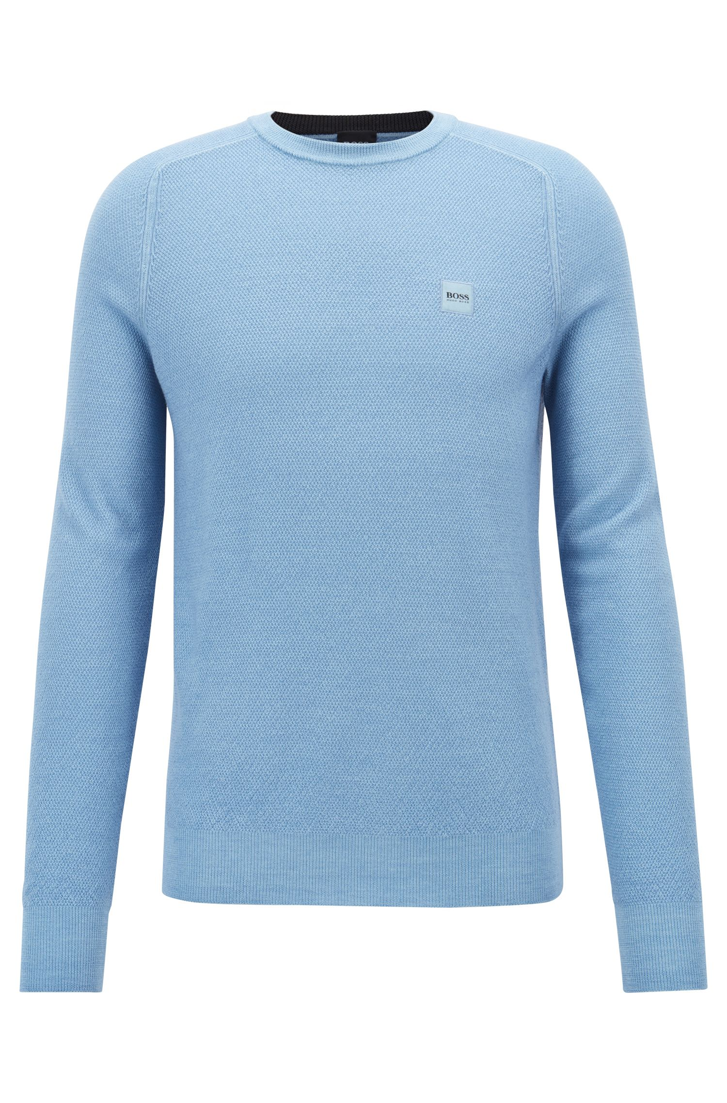 Crew-neck knitted sweater in garment-dyed merino wool, Light Blue