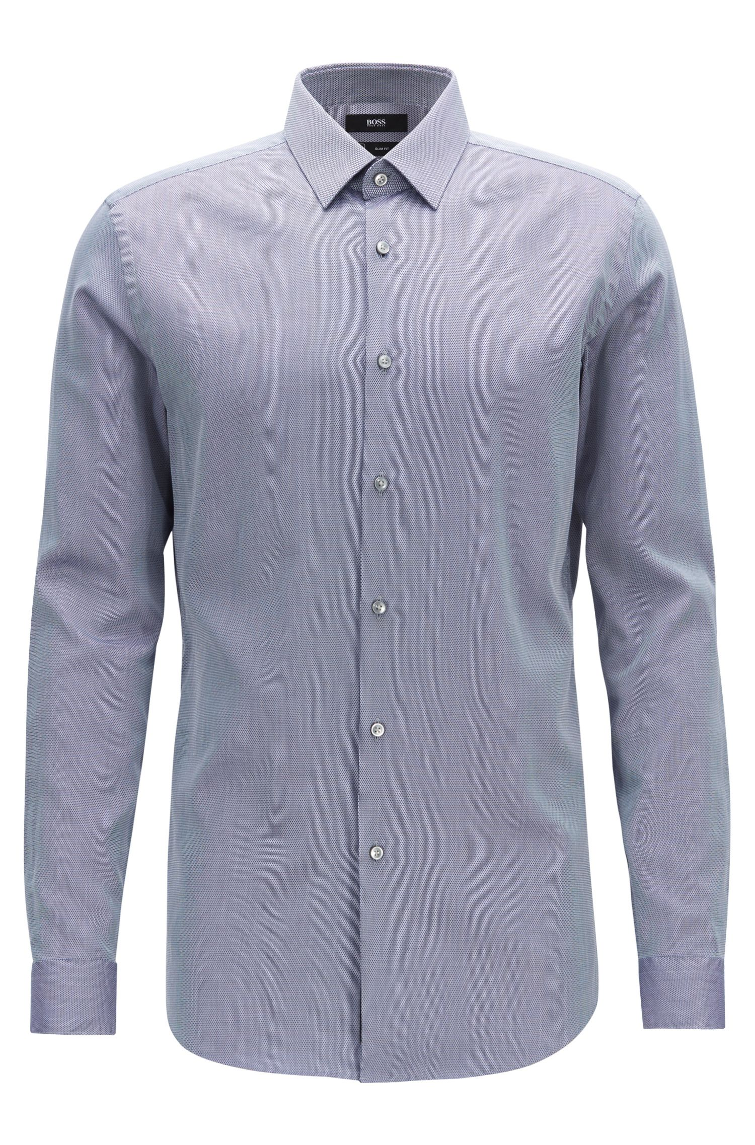 Slim-fit shirt in a moisture-wicking cotton blend, Blue
