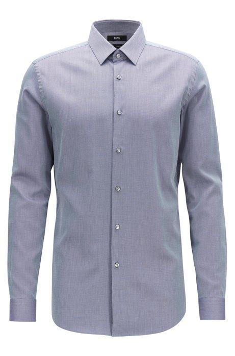 Slim-Fit Hemd aus feuchtigkeitsableitendem Baumwoll-Mix, Blau