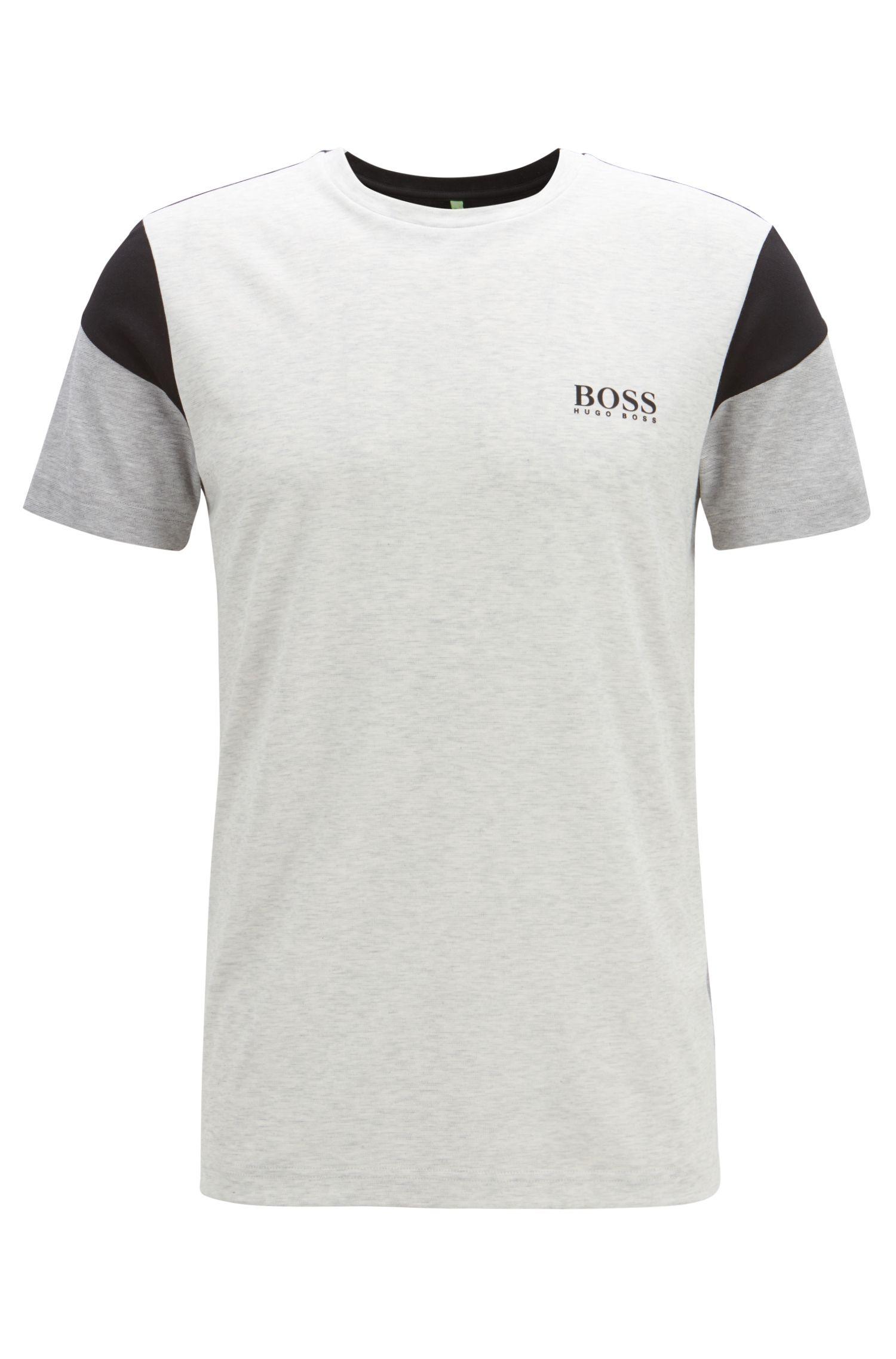 T-shirt Slim Fit en coton mélangé aux propriétés anti-humidité, Gris chiné