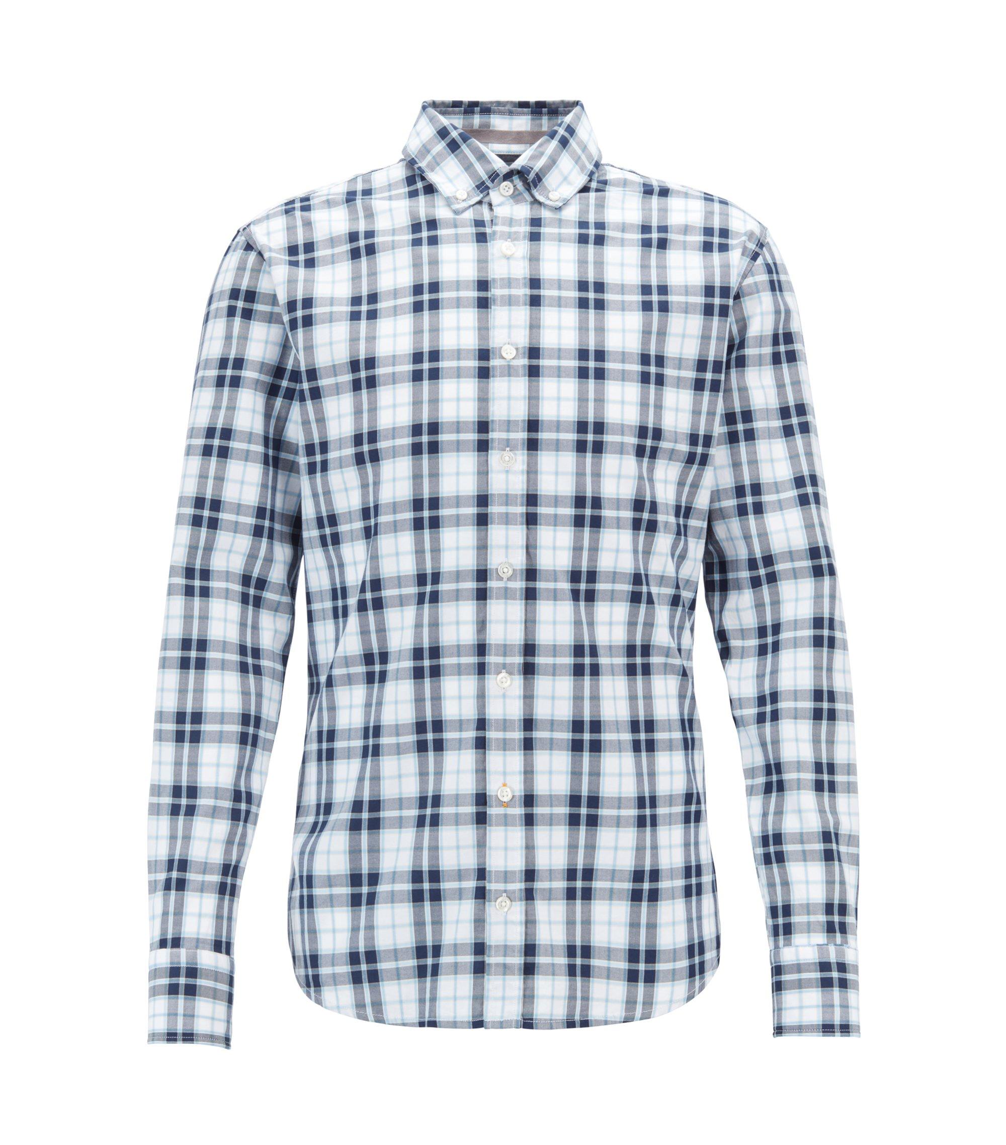 Camisa abotonada slim fit con estampado de cuadros madrás, Azul oscuro