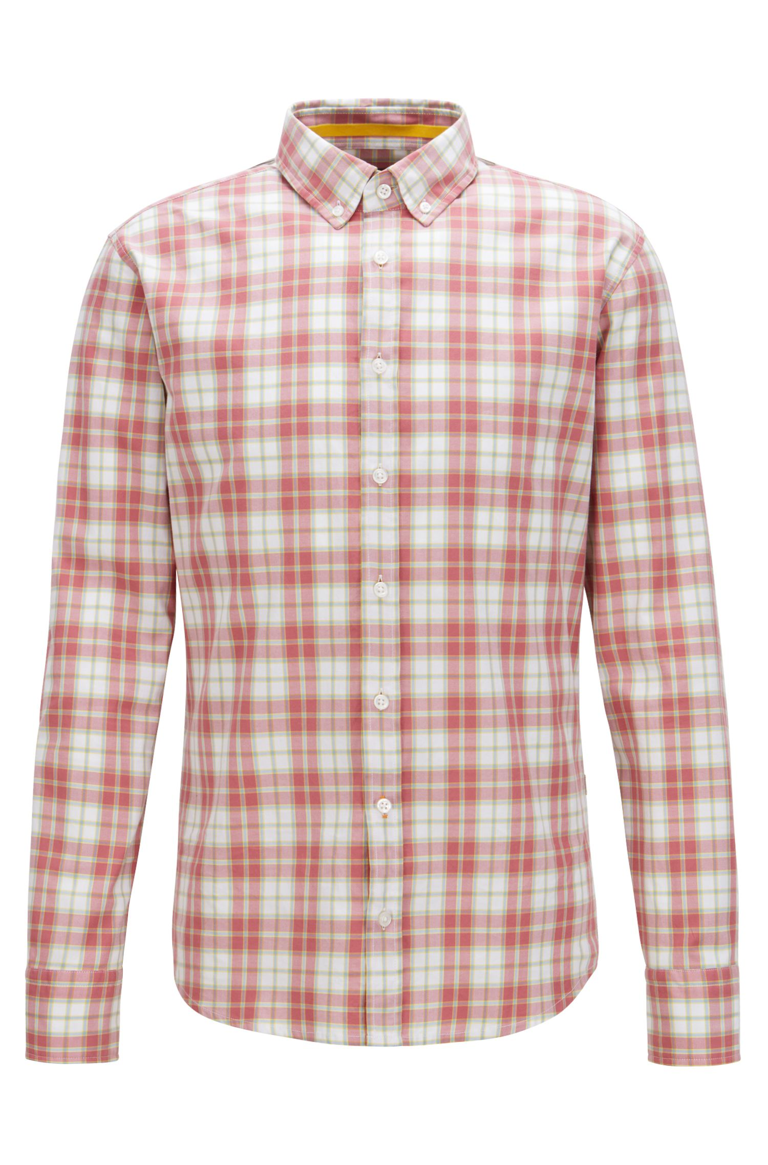 Slim-Fit Hemd mit Button-Down-Kragen und Madras-Karo, Rot