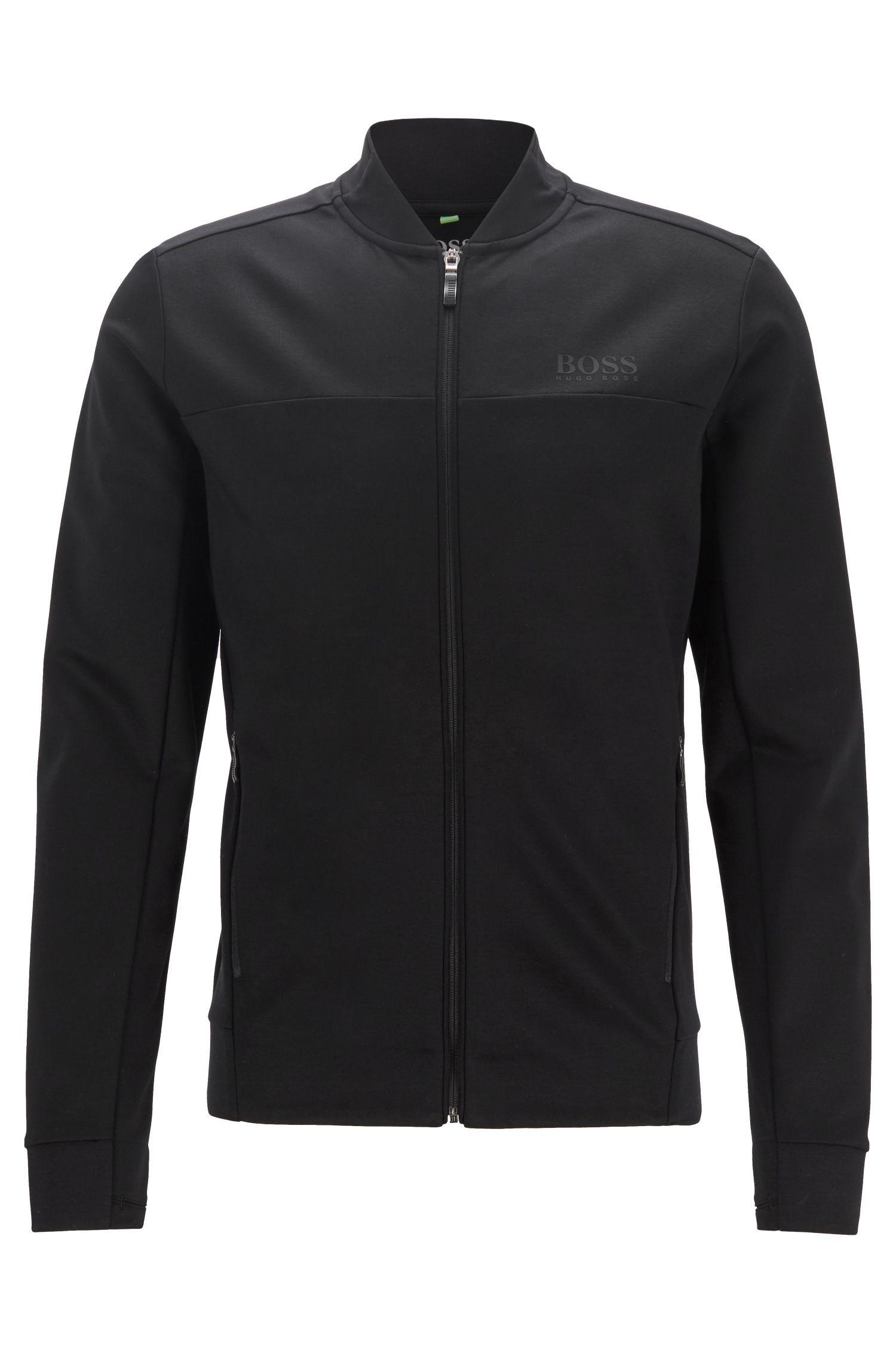 Water-repellent sweat jacket in cotton-blend interlock fabric, Black