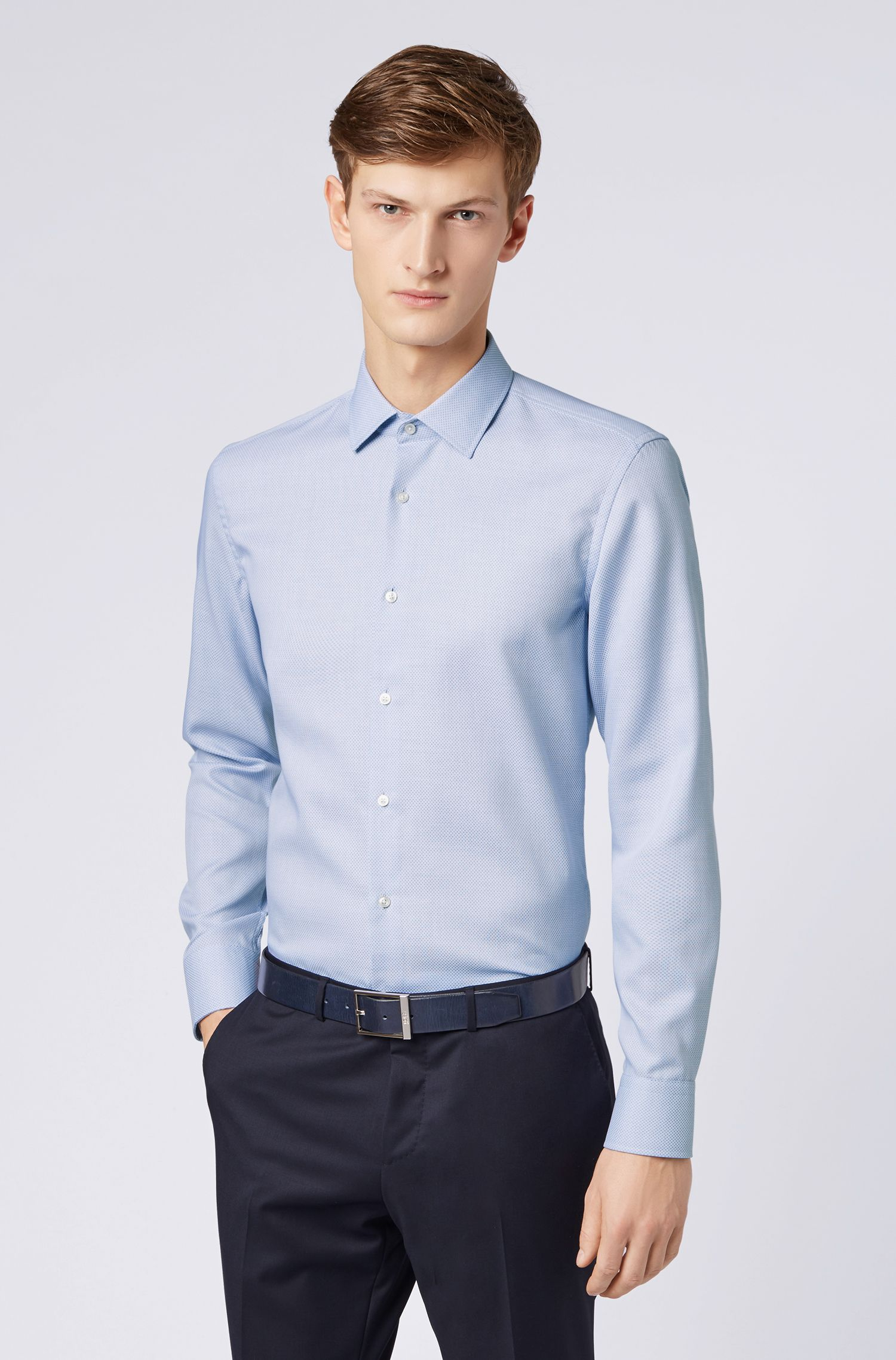 Hugo Boss - Slim-fit shirt in cotton with Aloe Vera finishing - 4