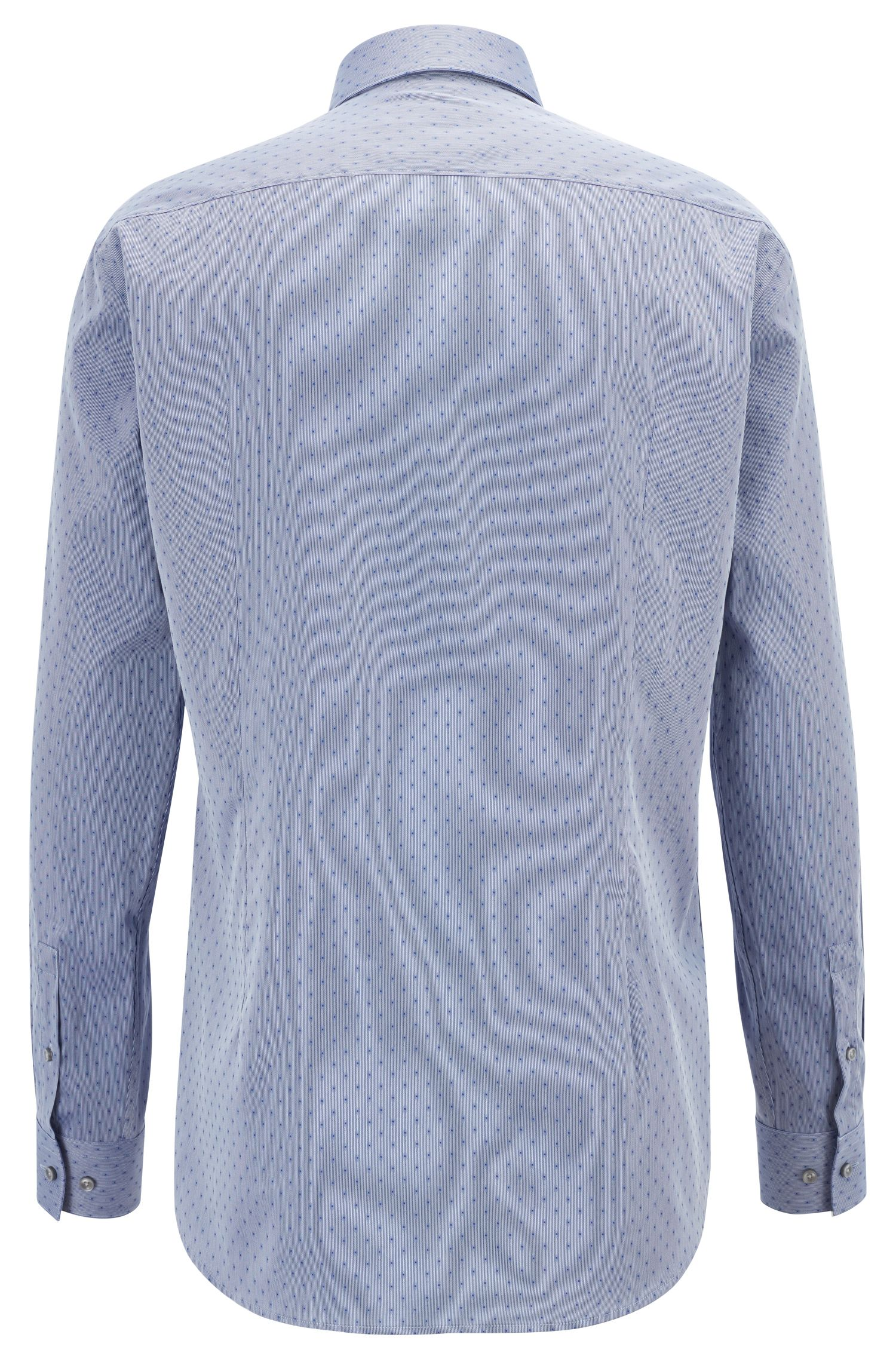 Slim-fit shirt in a Swiss-made cotton blend, Dark Blue