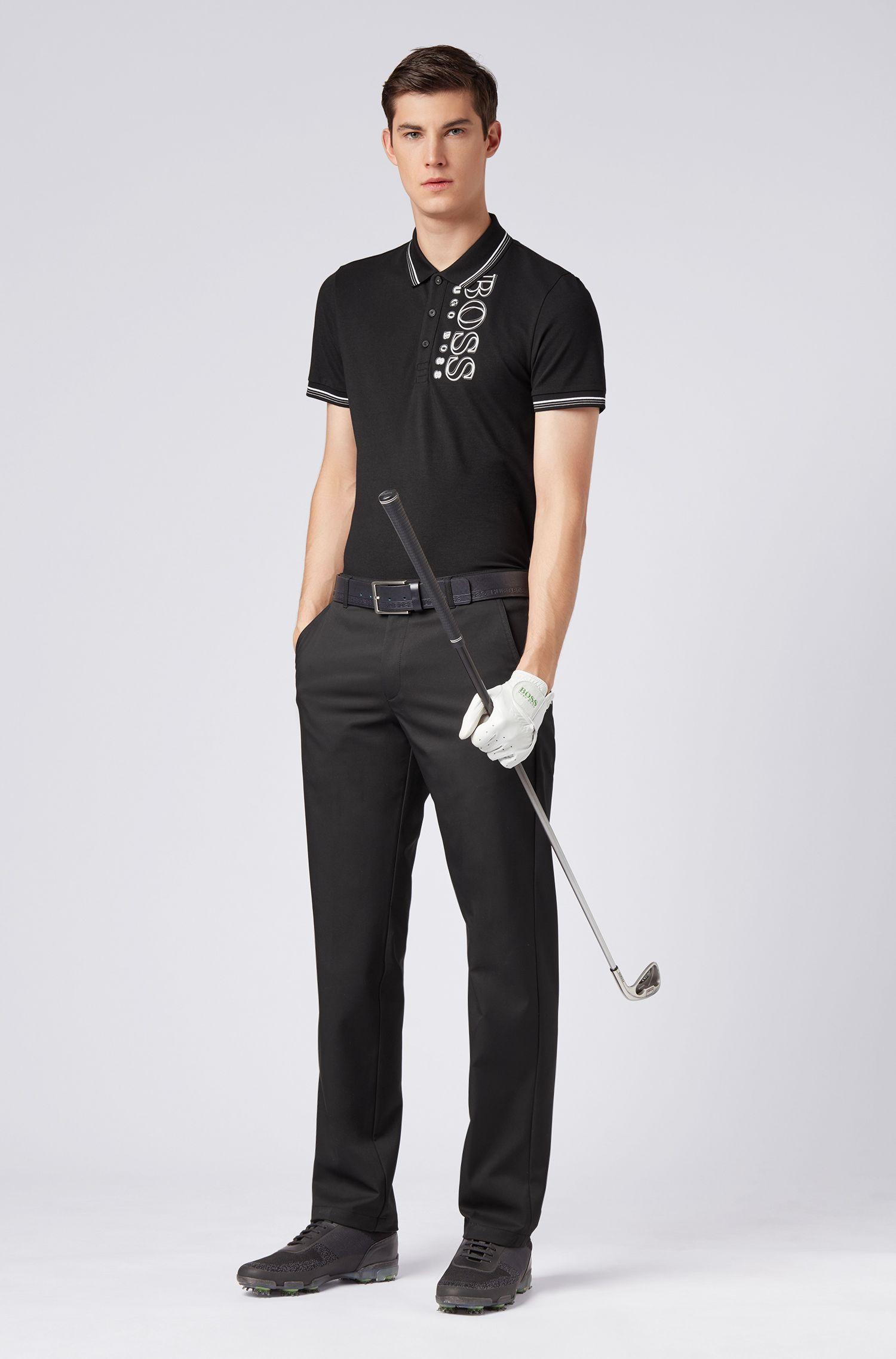 Slim-fit polo shirt in cotton-blend piqué with S.Café®, Black