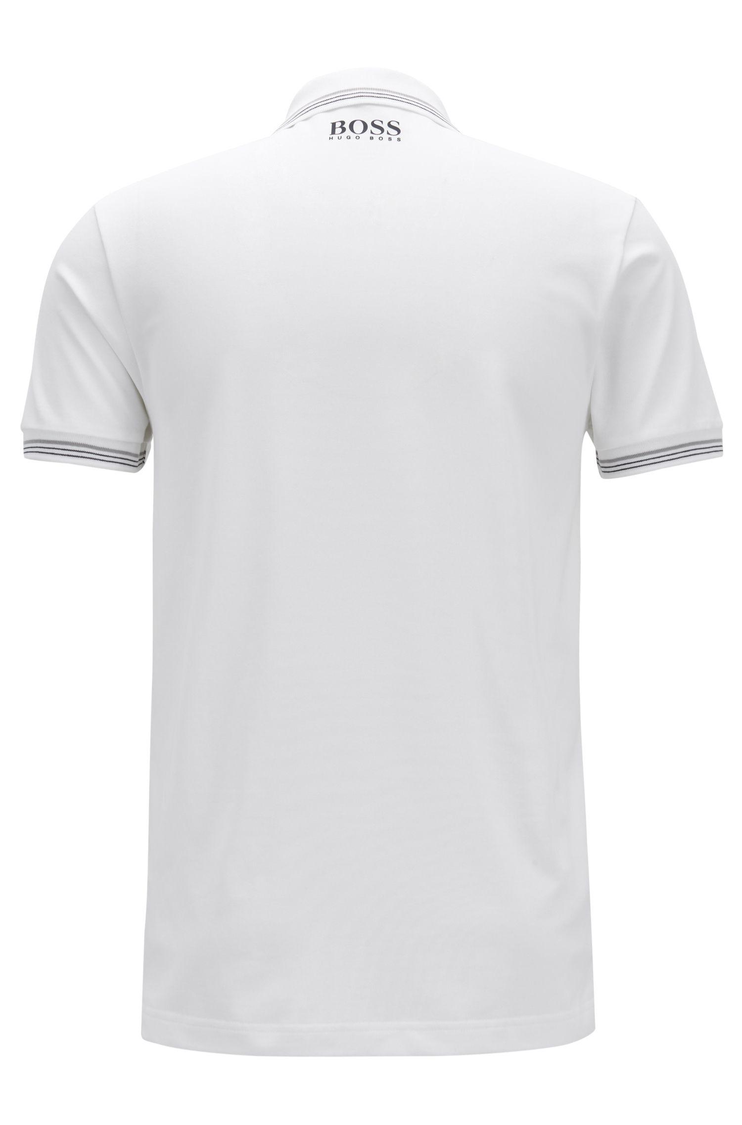Polo Slim Fit en piqué de coton mélangé, avec de la fibreS.Café®, Blanc