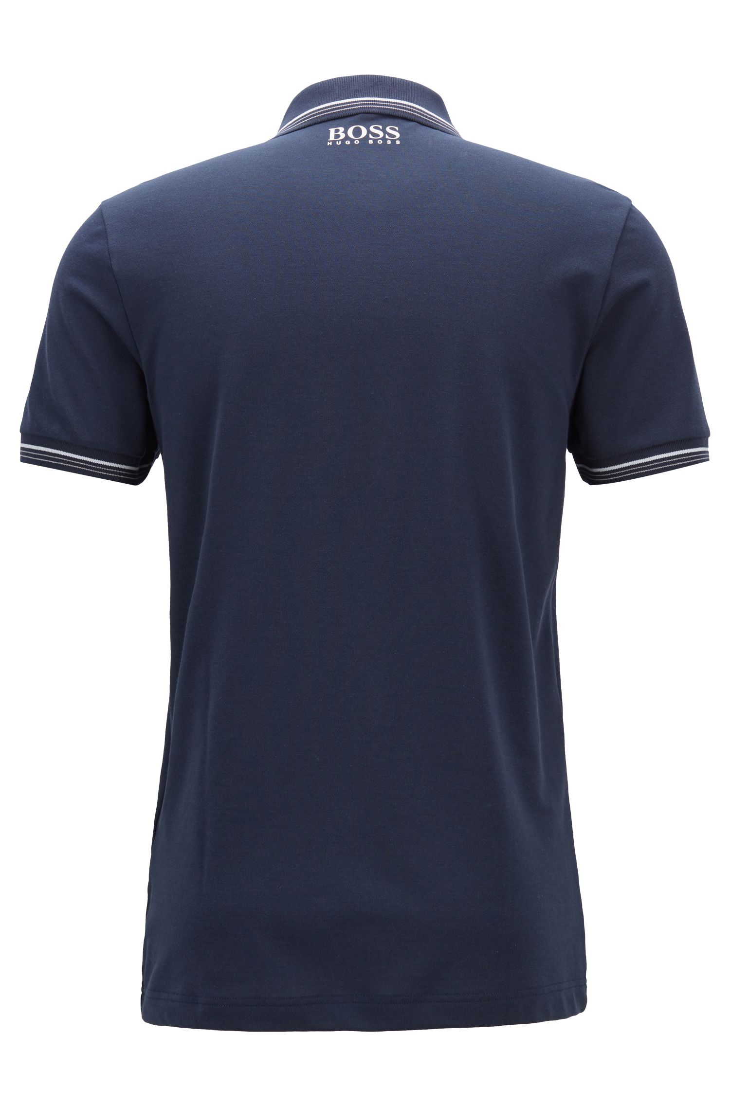 Slim-fit polo shirt in cotton-blend piqué with S.Café®, Dark Blue