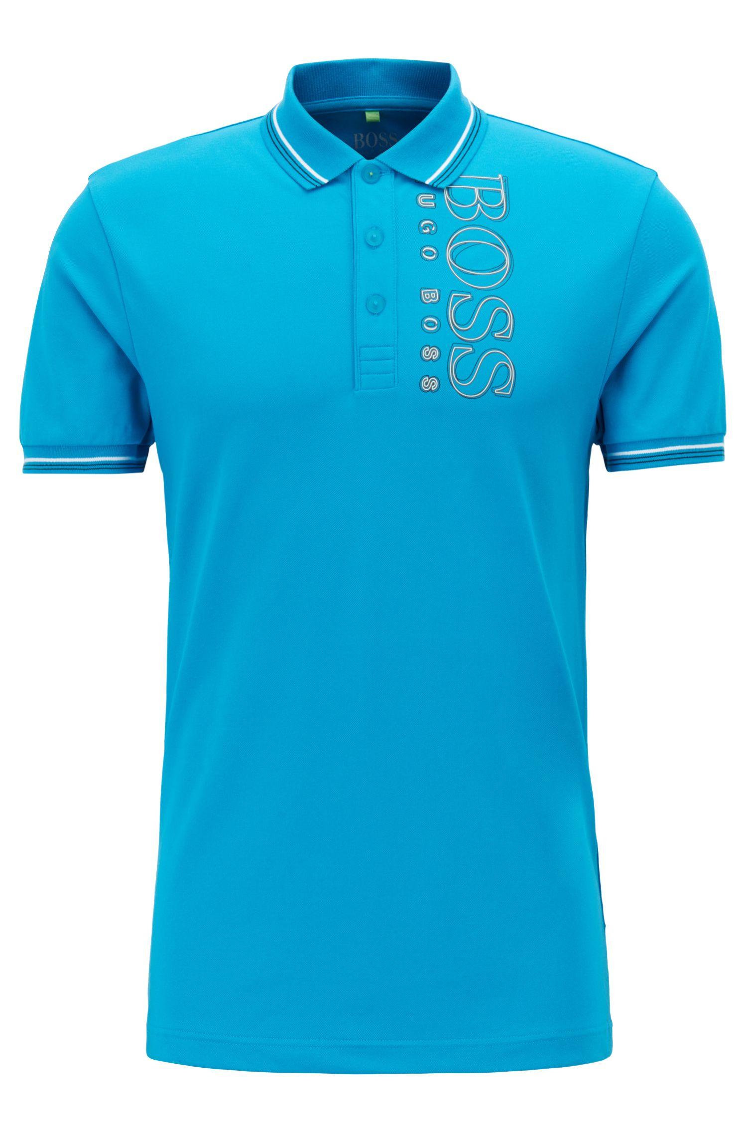 Slim-fit polo shirt in cotton-blend piqué with S.Café®, Blue