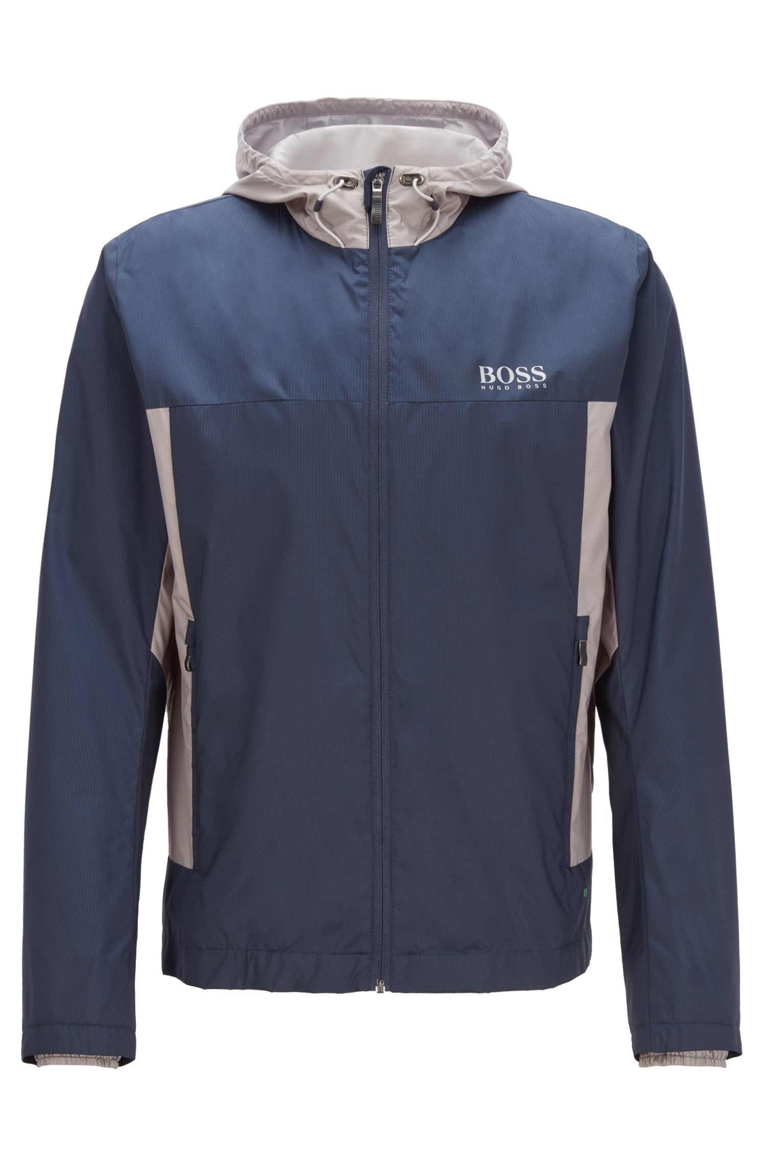Lightweight water-repellent hooded jacket in ripstop fabric, Azul oscuro