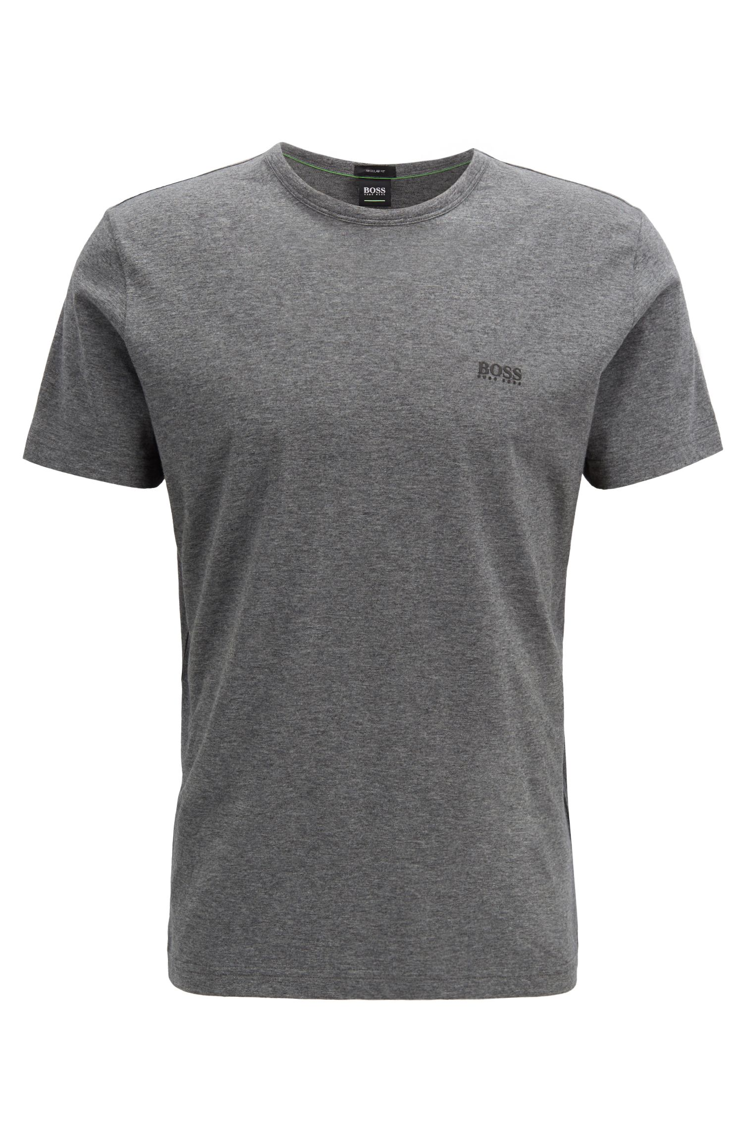 Crew-neck jersey T-shirt with rubber shoulder print, Grey