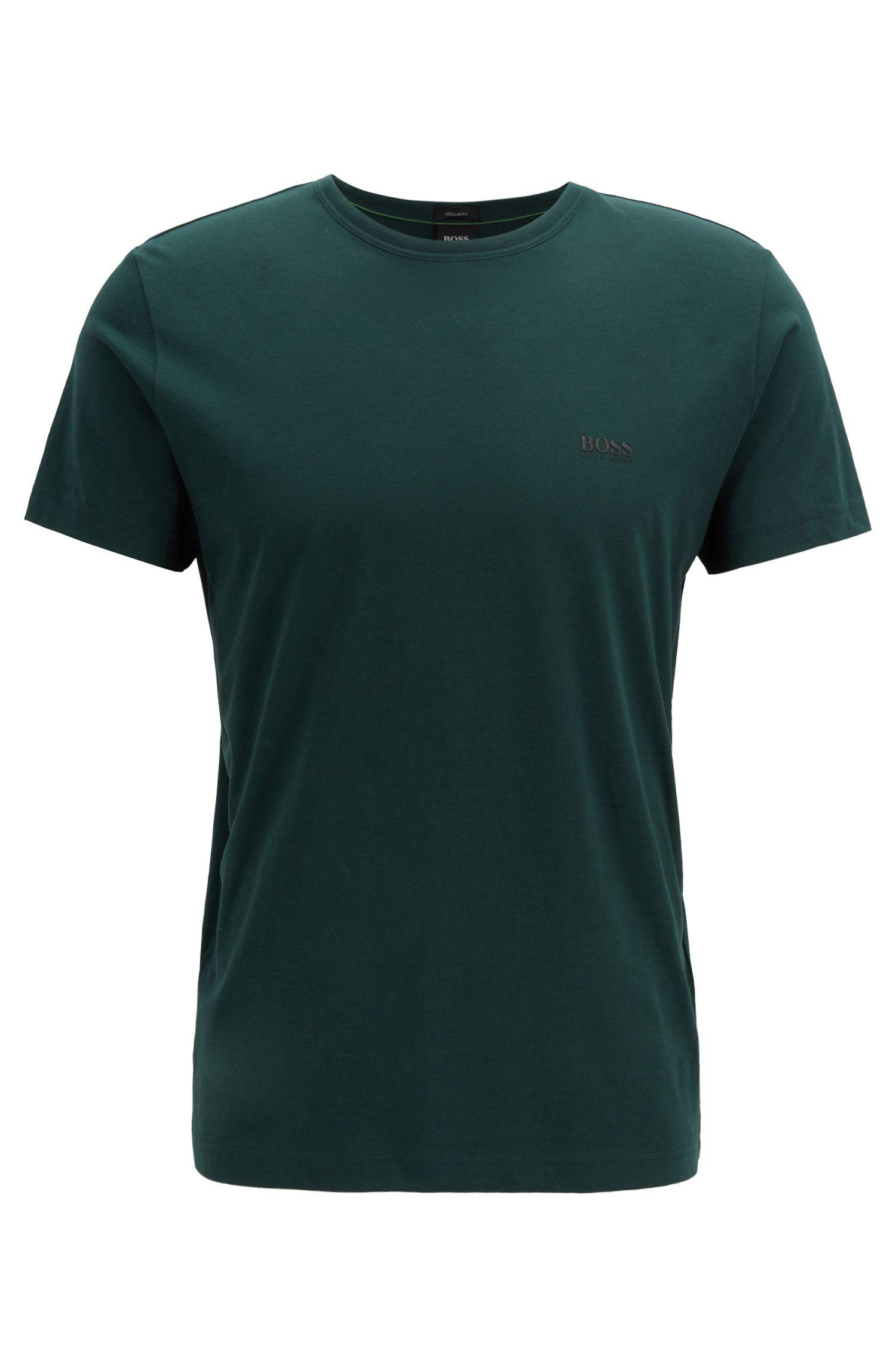T-shirt en jersey à col ras-du-cou avec un imprimé en gomme sur l'épaule, Vert