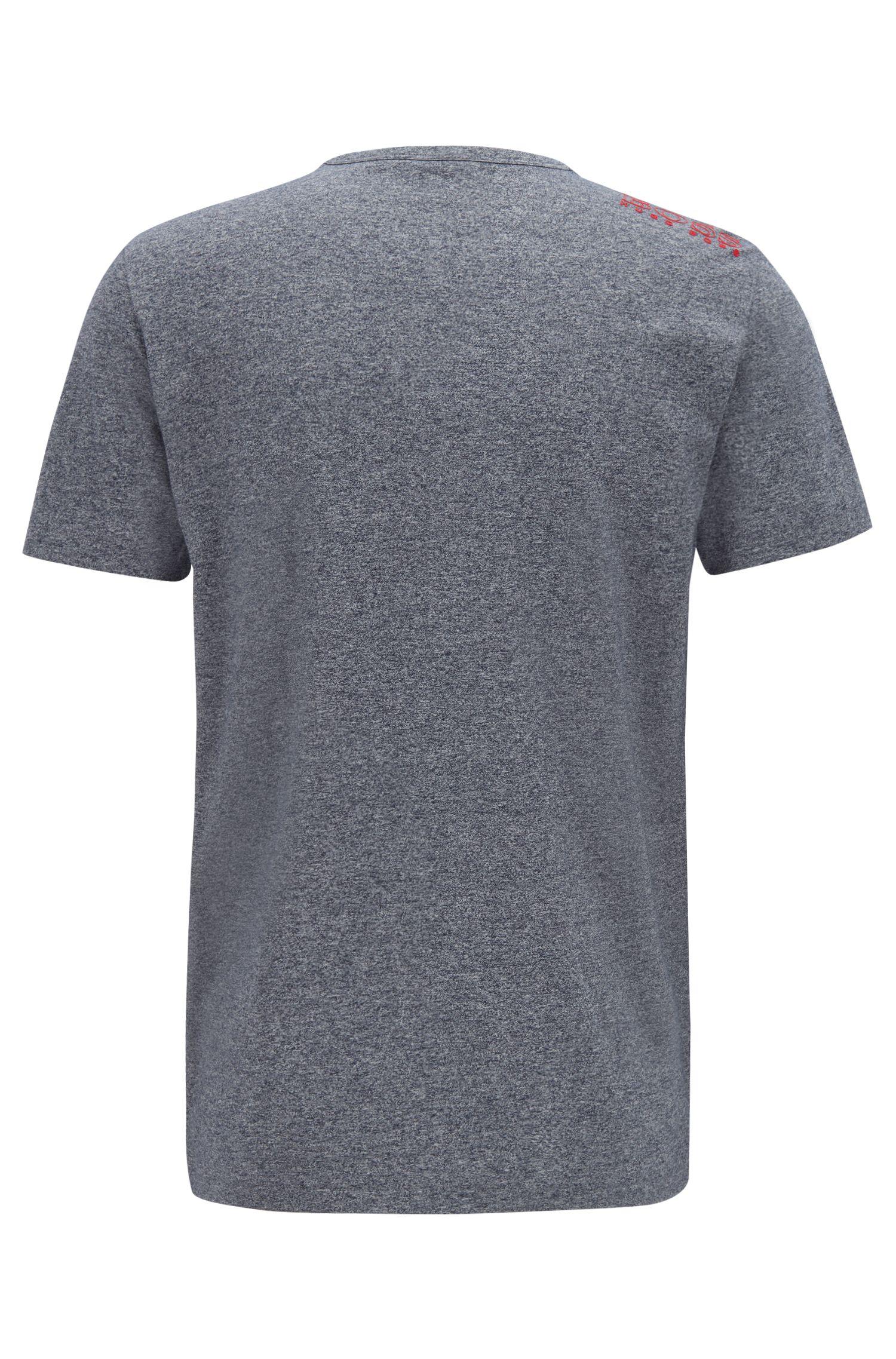 T-Shirt aus Jersey mit Rundhalsausschnitt und Gummi-Print auf der Schulter, Blau