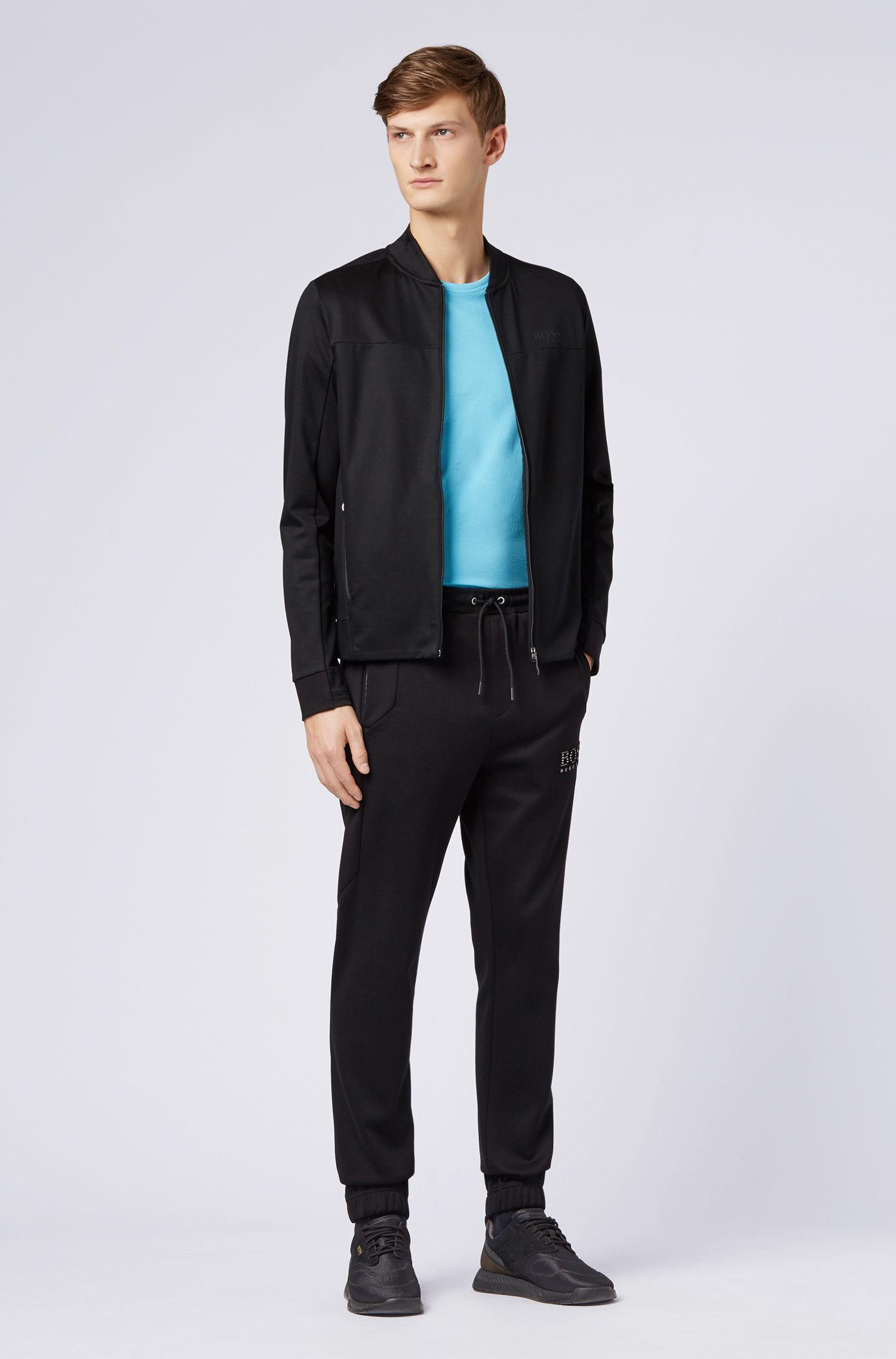 T-shirt en jersey à col ras-du-cou avec un imprimé en gomme sur l'épaule, Turquoise