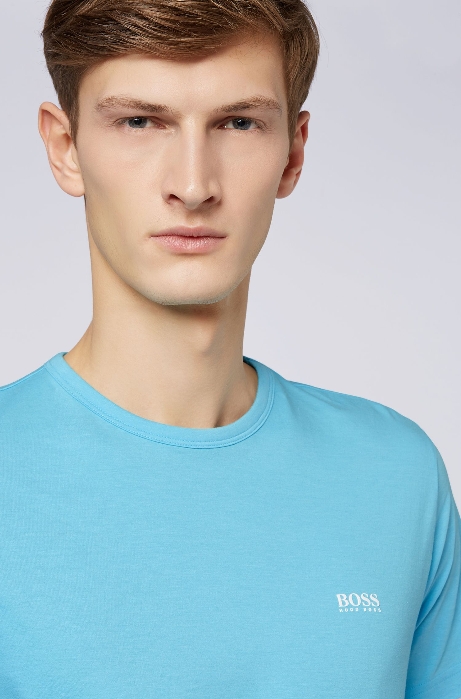 Crew-neck jersey T-shirt with rubber shoulder print, Turquoise