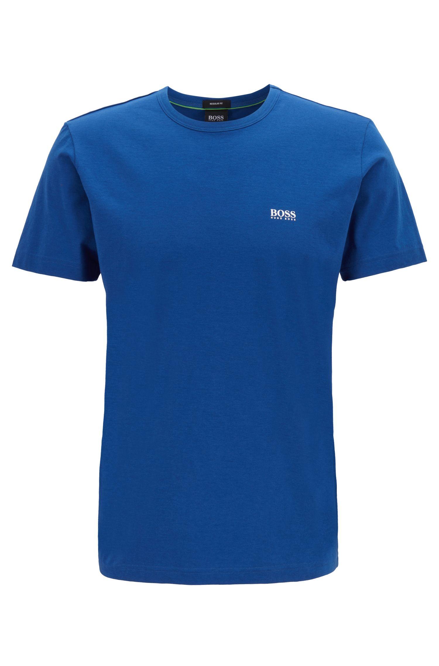 Camiseta de punto con cuello redondo y estampado de goma en el hombro, Azul