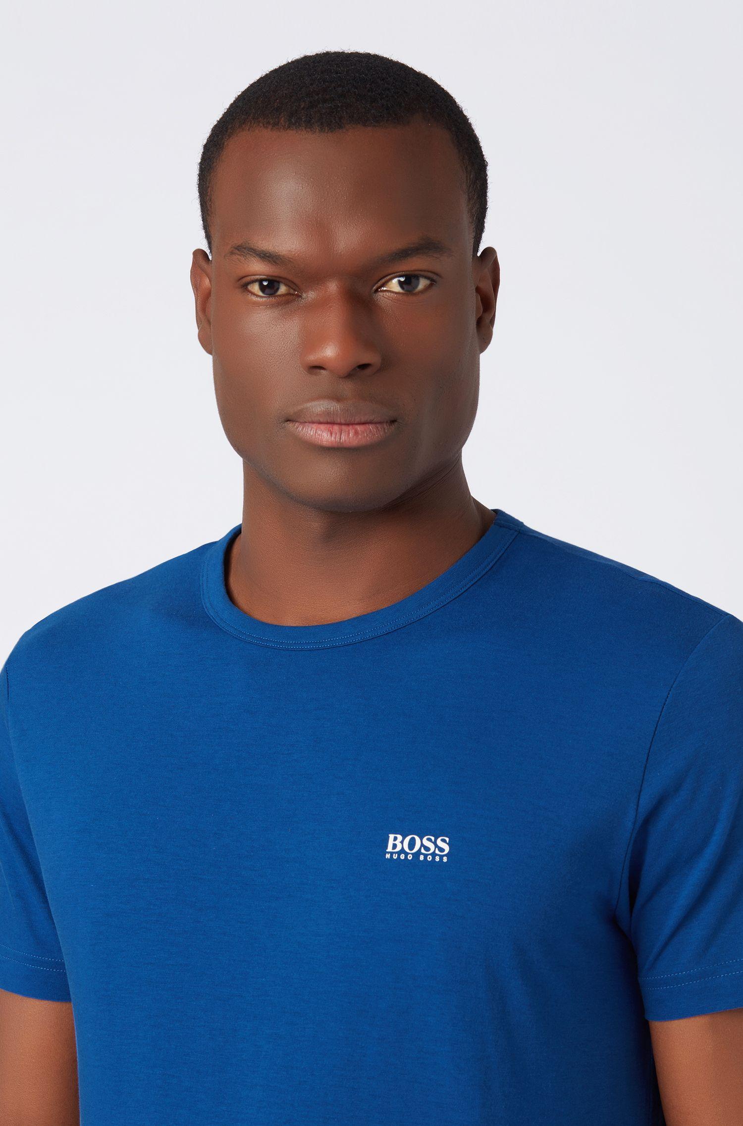 T-shirt in jersey a girocollo con stampa in gomma sulla spalla, Blu