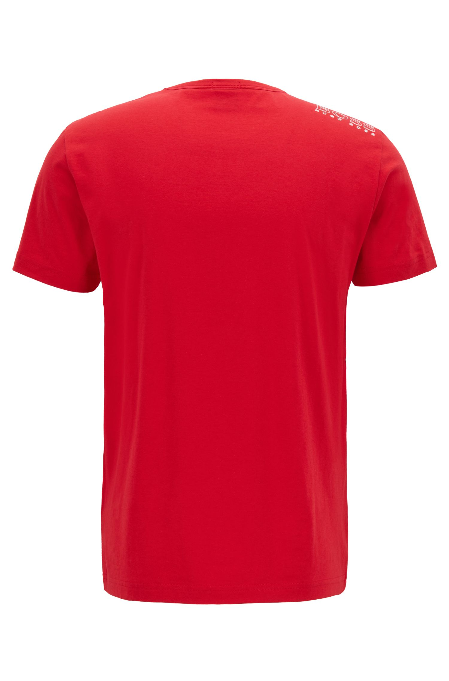 Crew-neck jersey T-shirt with rubber shoulder print, Red