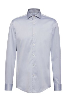 Slim-fit shirt in cotton twill with spread collar, Dark Grey