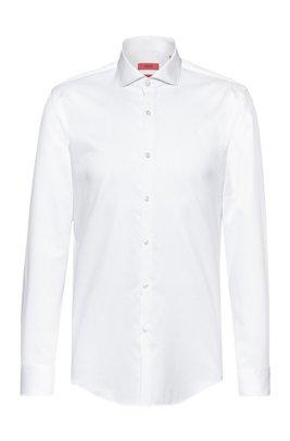 Slim-Fit Hemd aus Baumwoll-Twill mit Cutaway-Kragen, Weiß