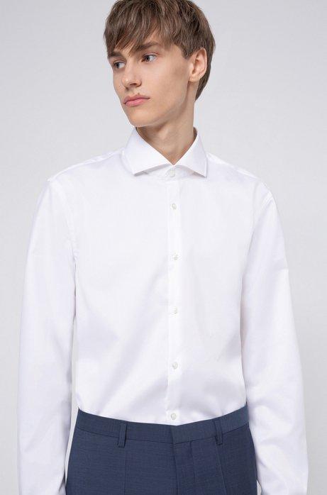 Slim-fit overhemd in katoenen twill met gespreide kraag, Wit