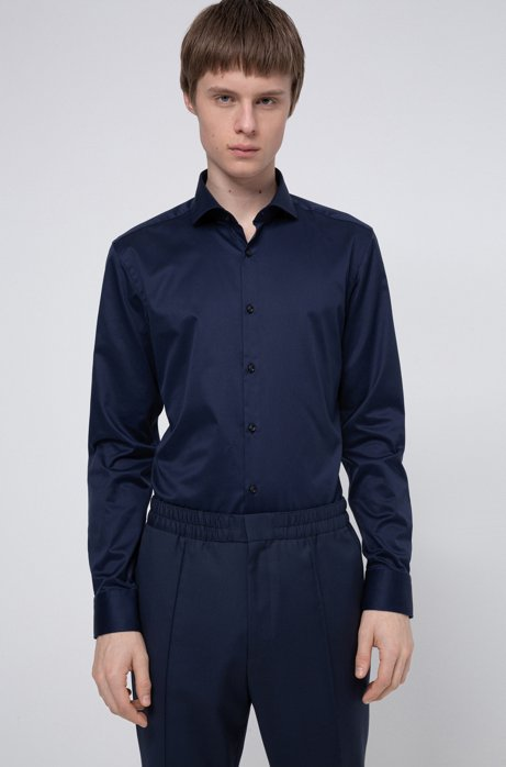 Chemise Slim Fit en twill de coton à col italien, Bleu foncé