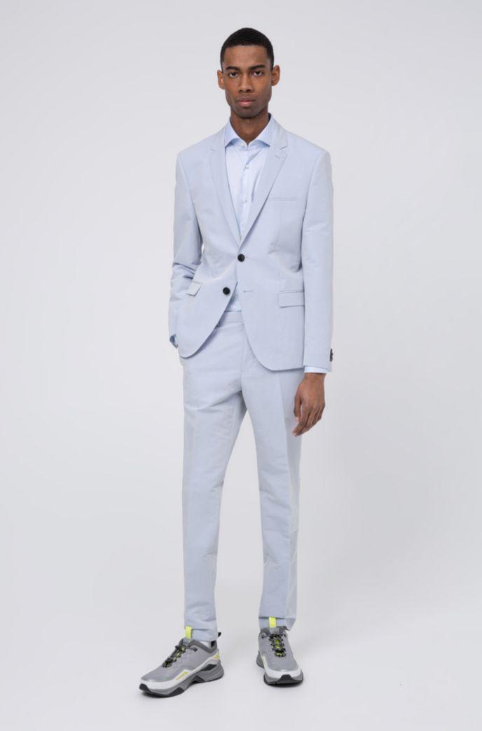 Camicia slim fit in twill di cotone con colletto alla francese