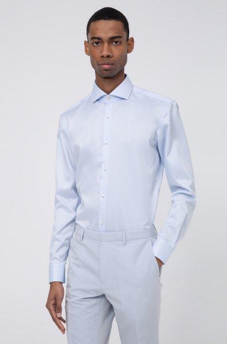 Camicia slim fit in twill di cotone con colletto alla francese, Celeste